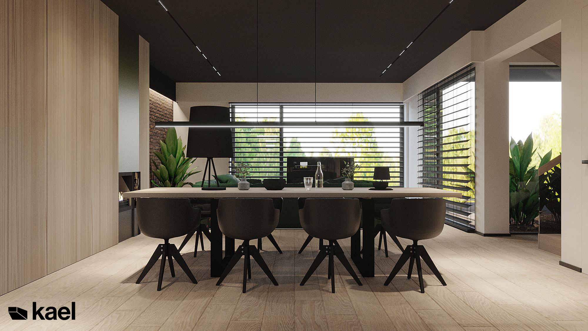 Jadalnia, stół z krzesłami w projekcie Czumy II