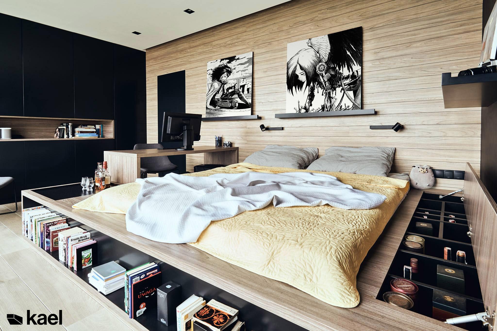 Sypialnia z projektowanym łóżkiem
