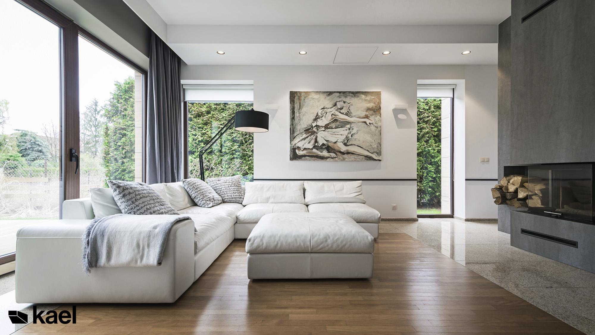 Projekt salonu w domu jednorodzinnym w Warszawie