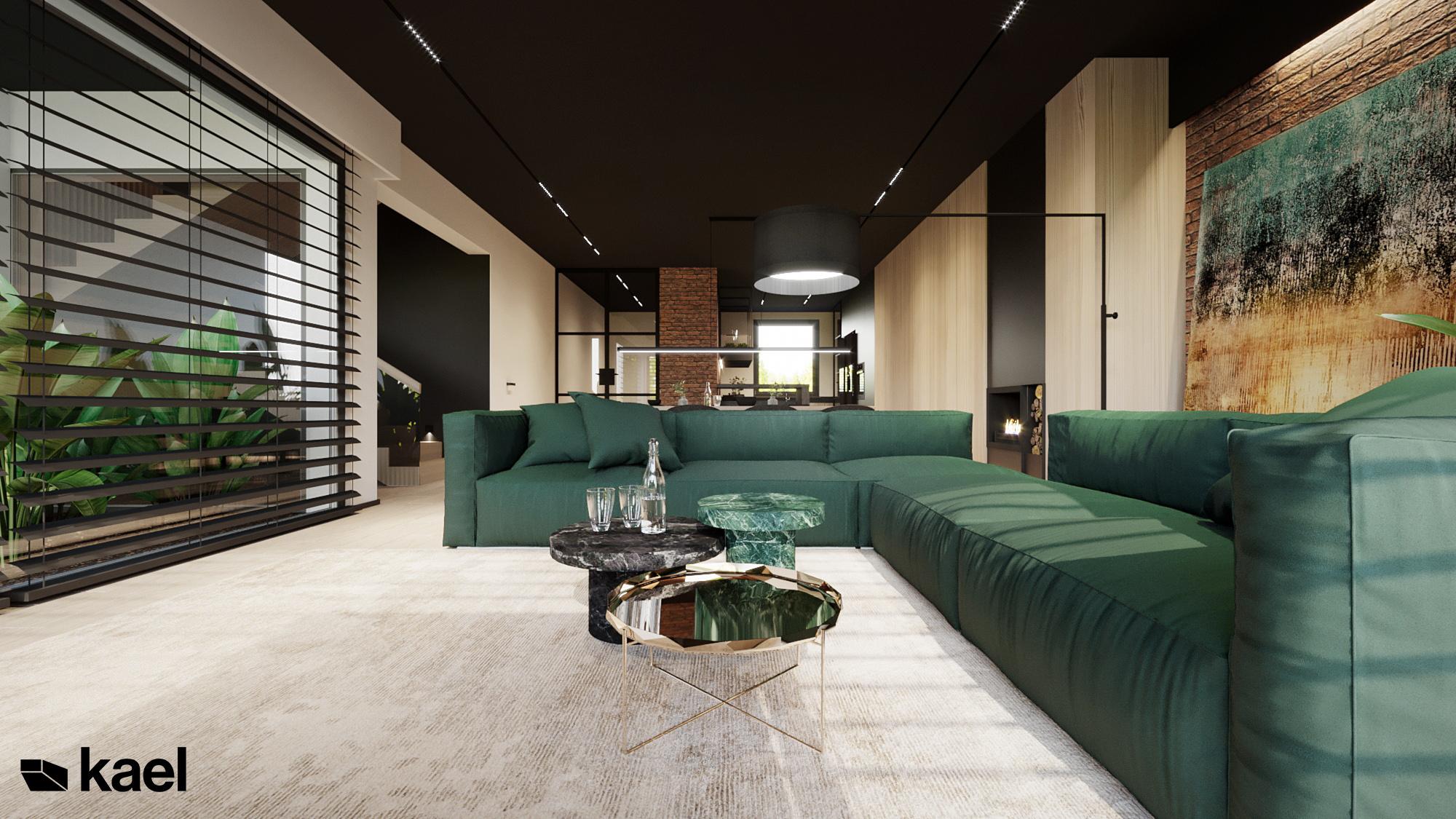 Salon - Czumy II - projekt wnętrza domu w zabudowie szeregowej - Kael