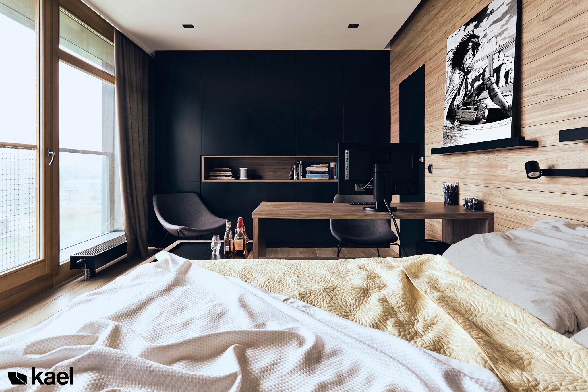 Sypialnia z drewnianymi panelami