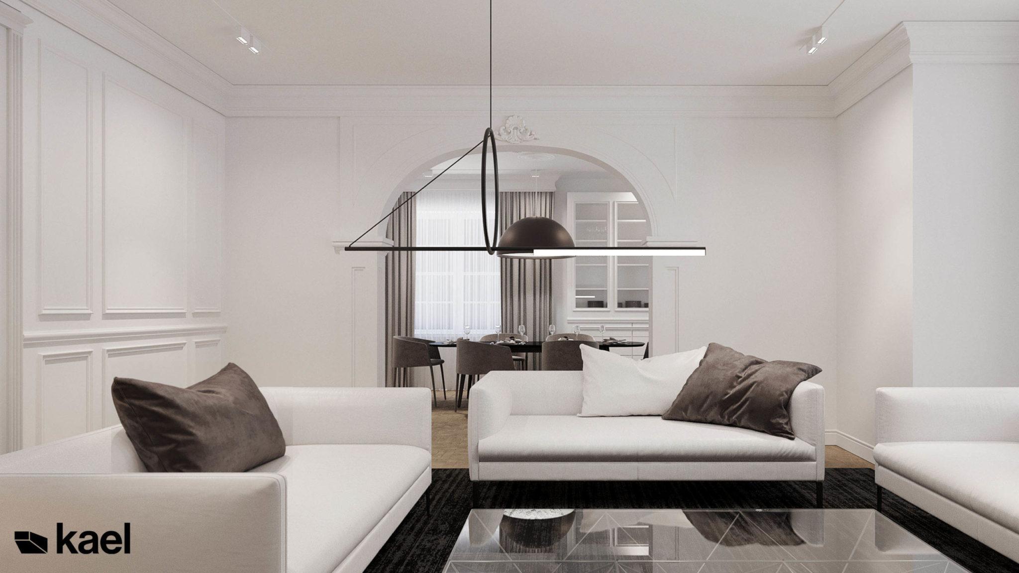 Salon z minimalistyczną lampą.