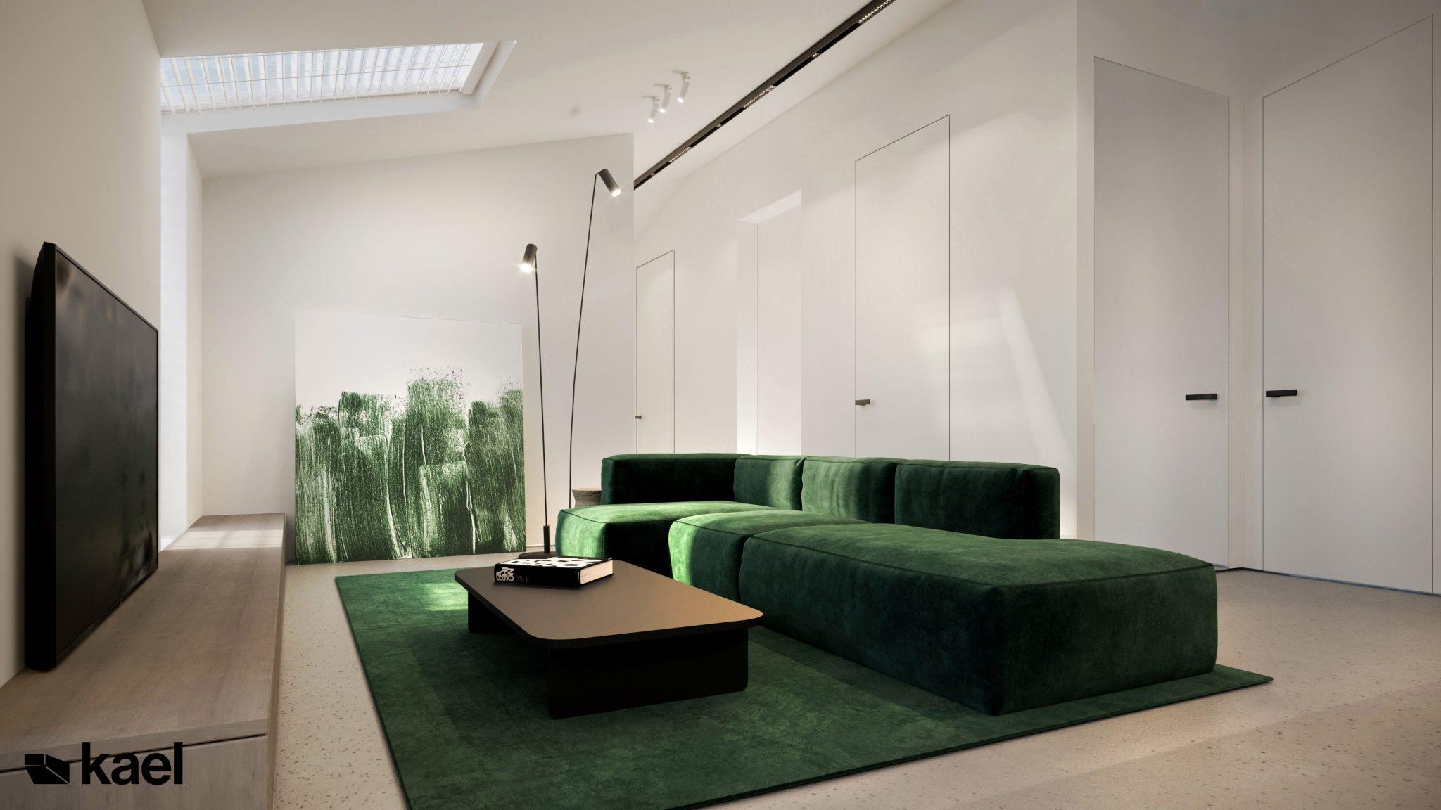 Salon, kącik kinowy - Palestera - projekt wnętrza Kael