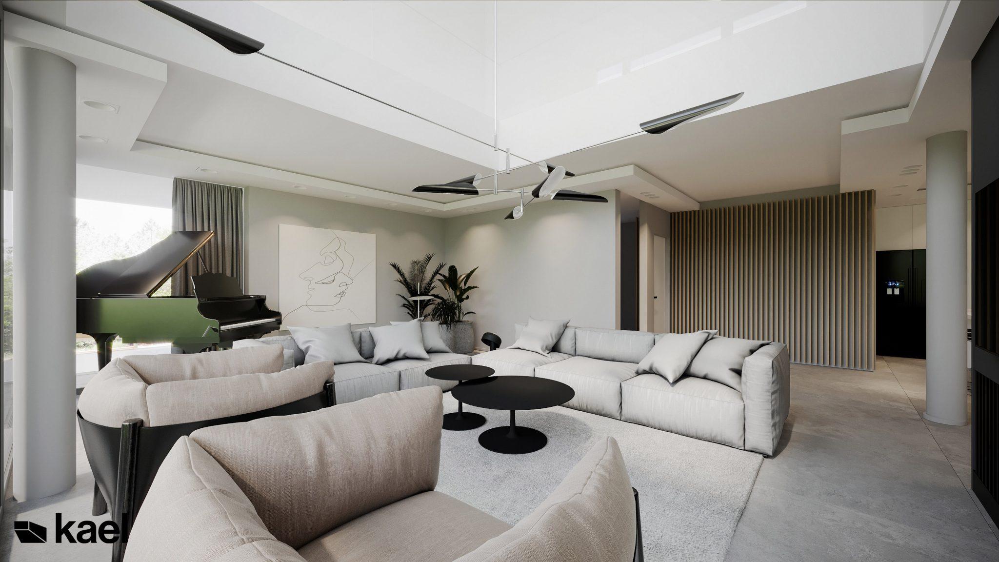 Przytulny salon - Wachowska - projekt wnętrza domu jednorodzinnego - Kael Warszawa