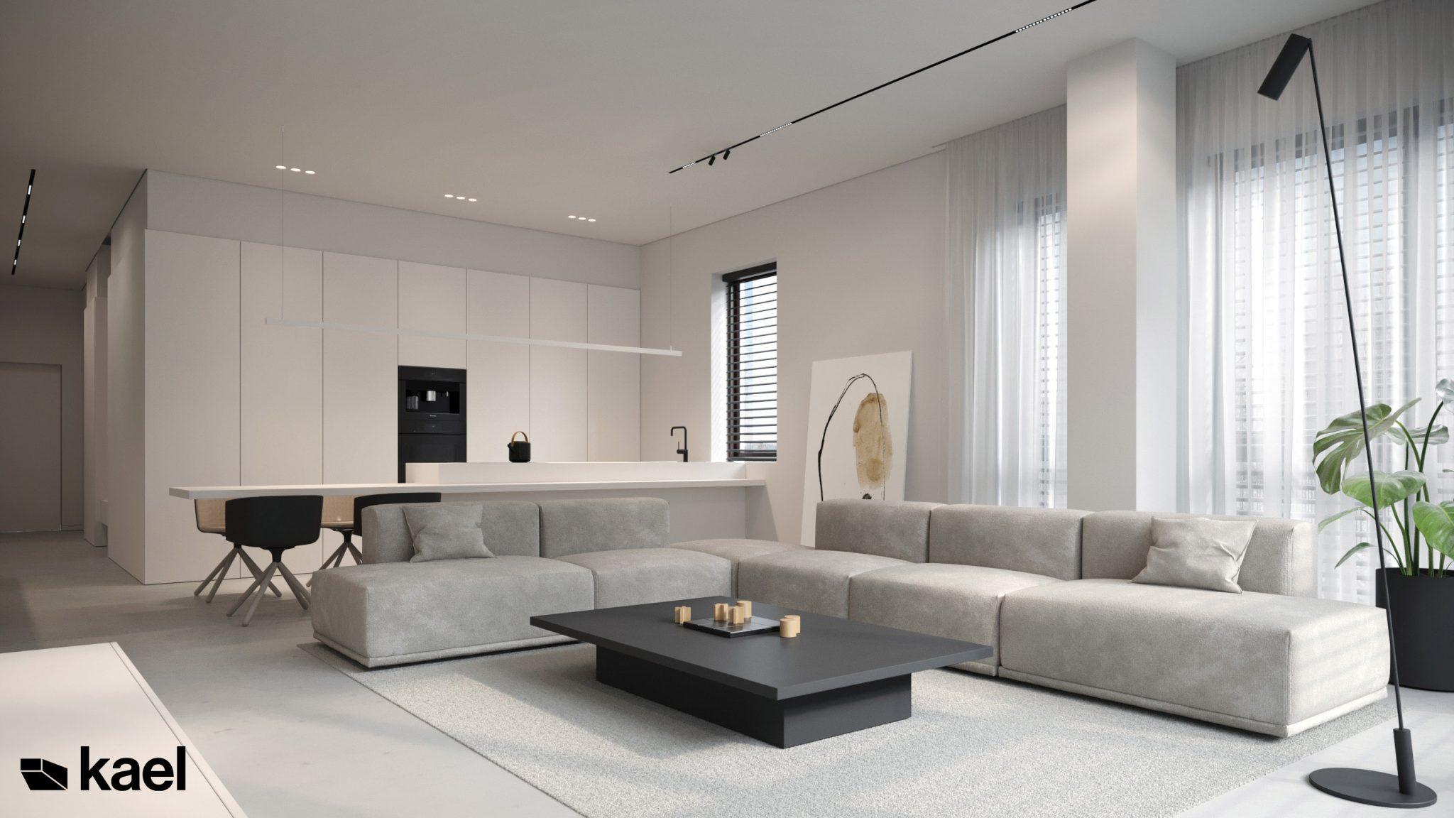 Duży, jasny i przestronny salon - projekt Wielicka