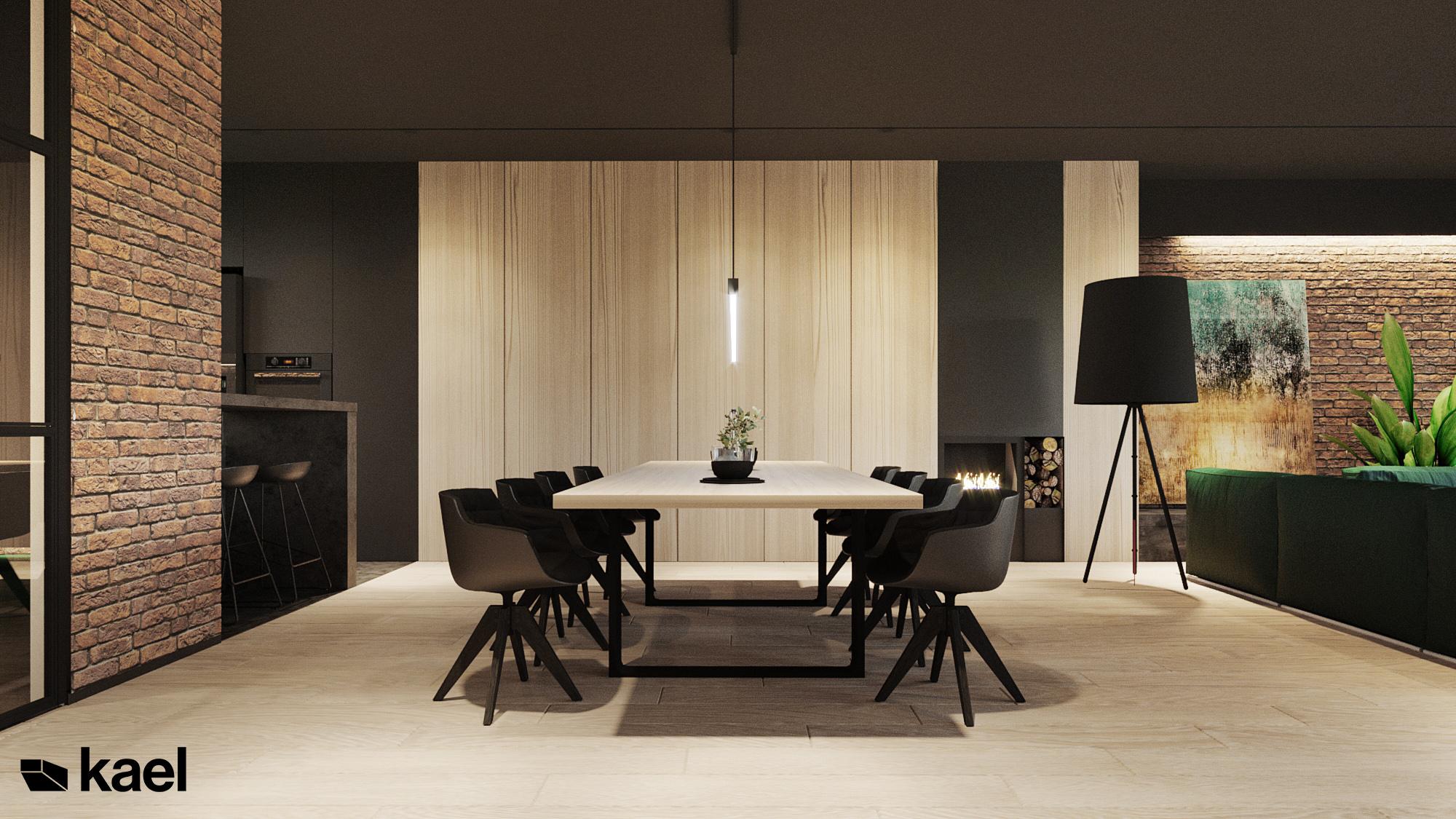 Jadalnia - Czumy II - projekt wnętrza domu w zabudowie szeregowej - Kael