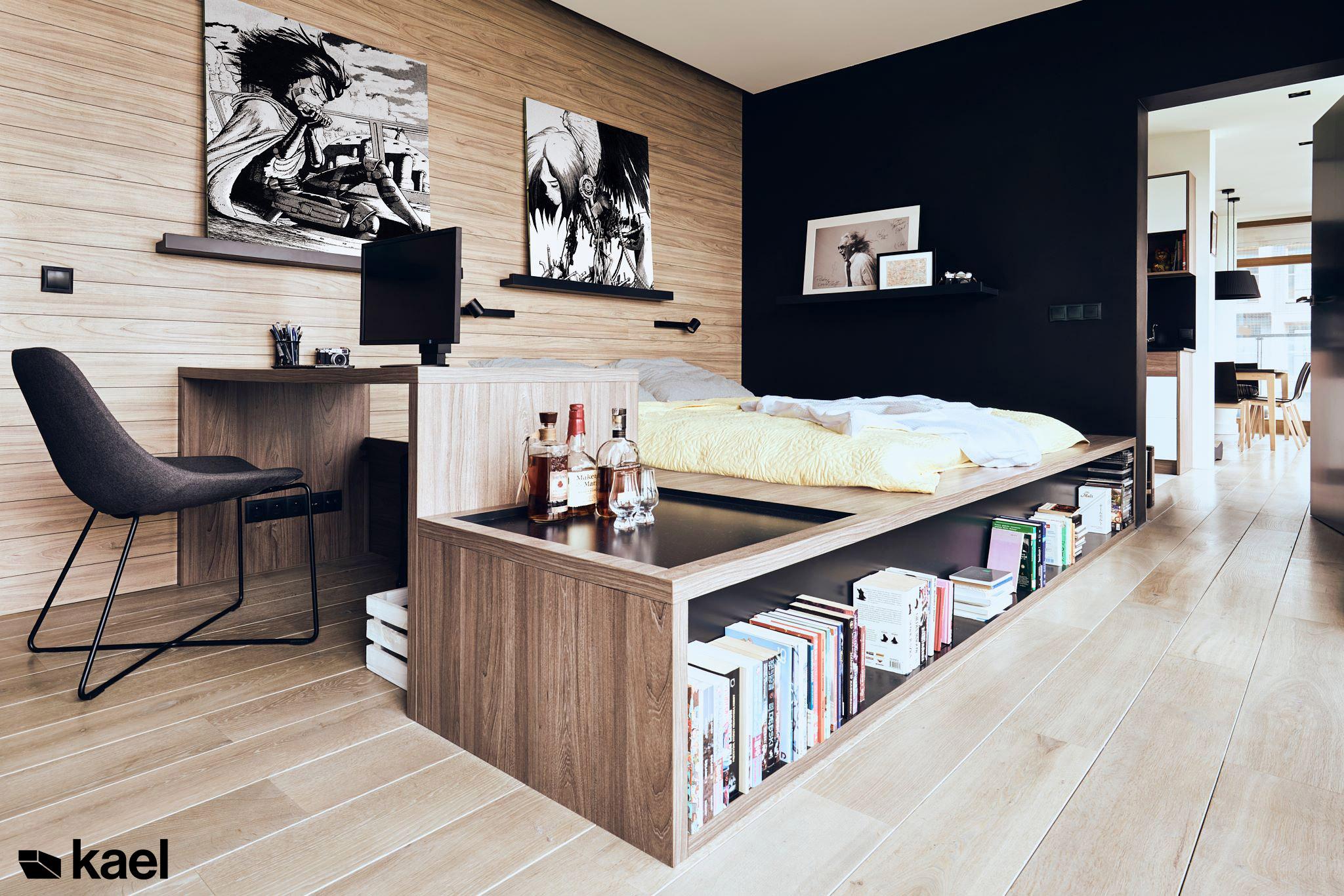 Łóżko z projektowanym biurkiem