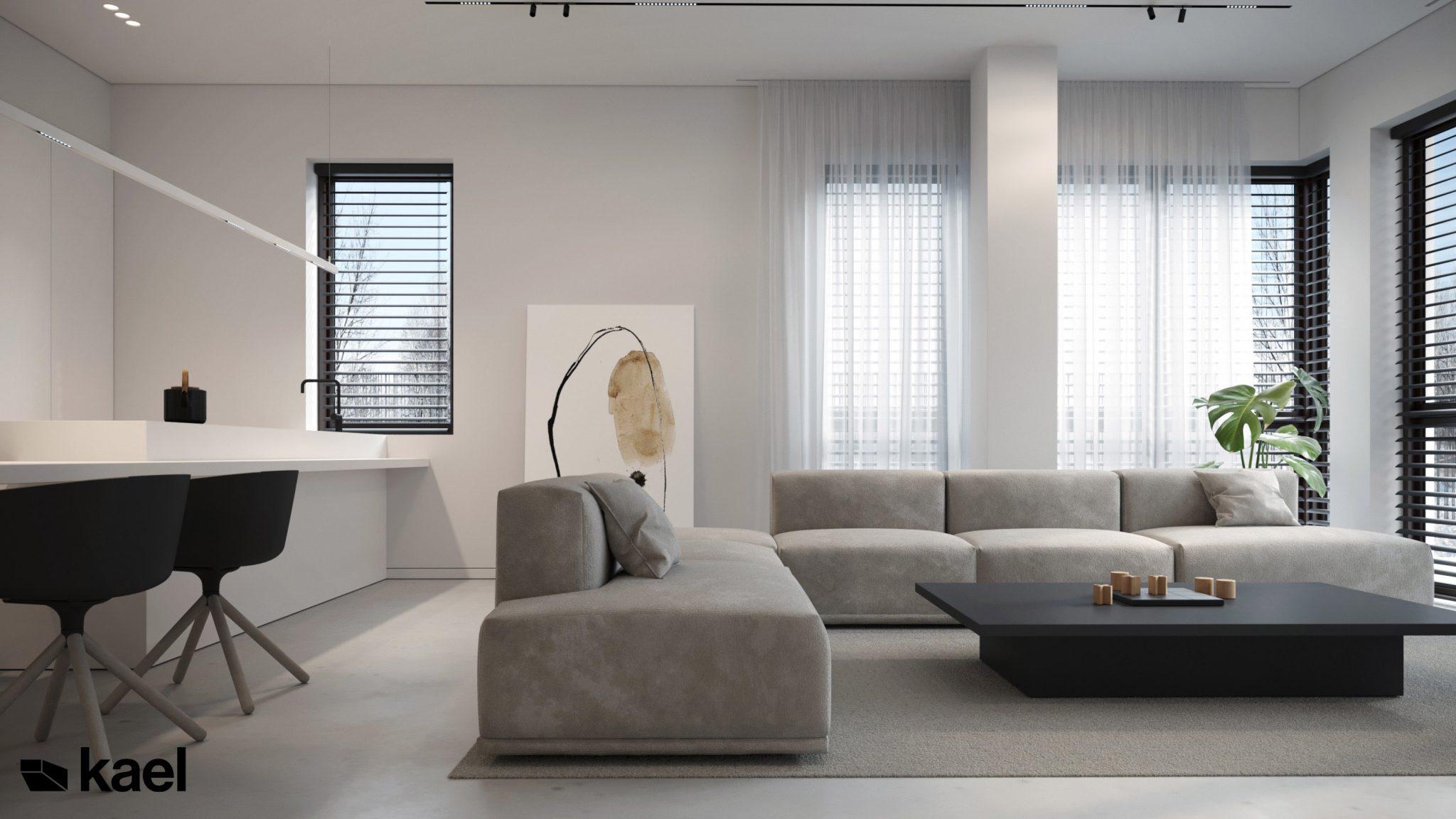 Salon - projekt Wielicka - Kael Architekci