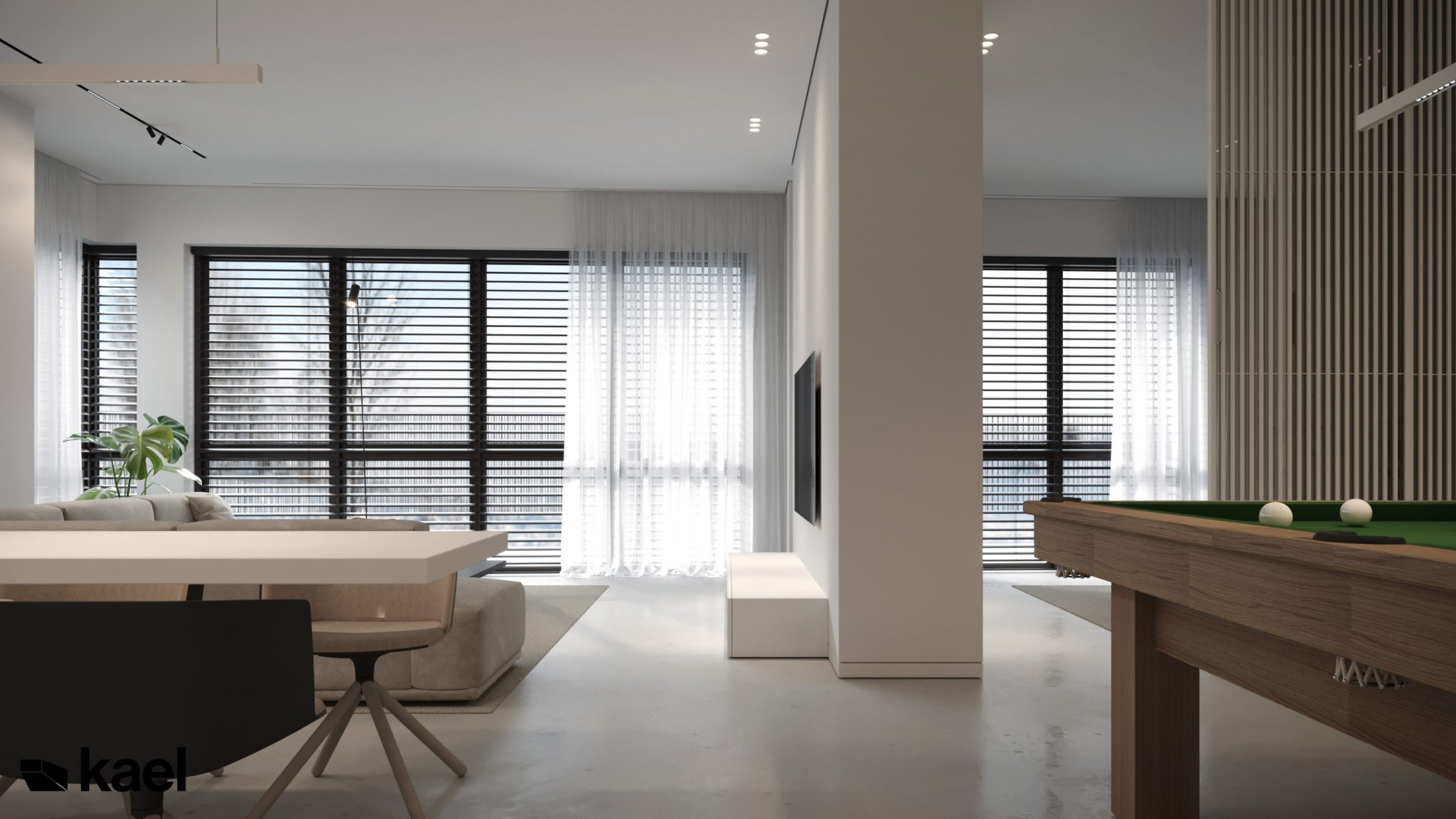 Salon w projekcie Wielicka - Kael Architekci