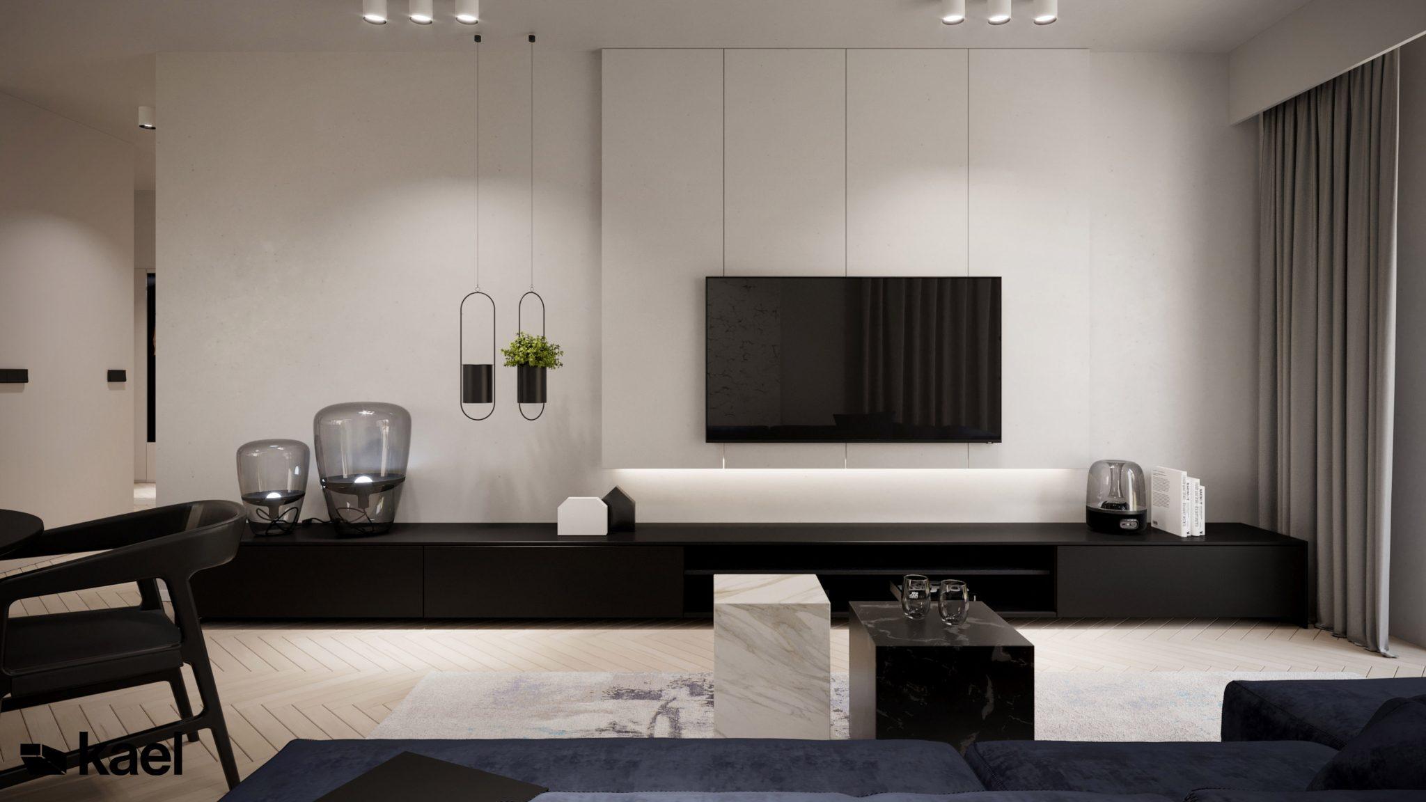 Salon - Figiel - projekt mieszkania - Kael - architekt Warszawa