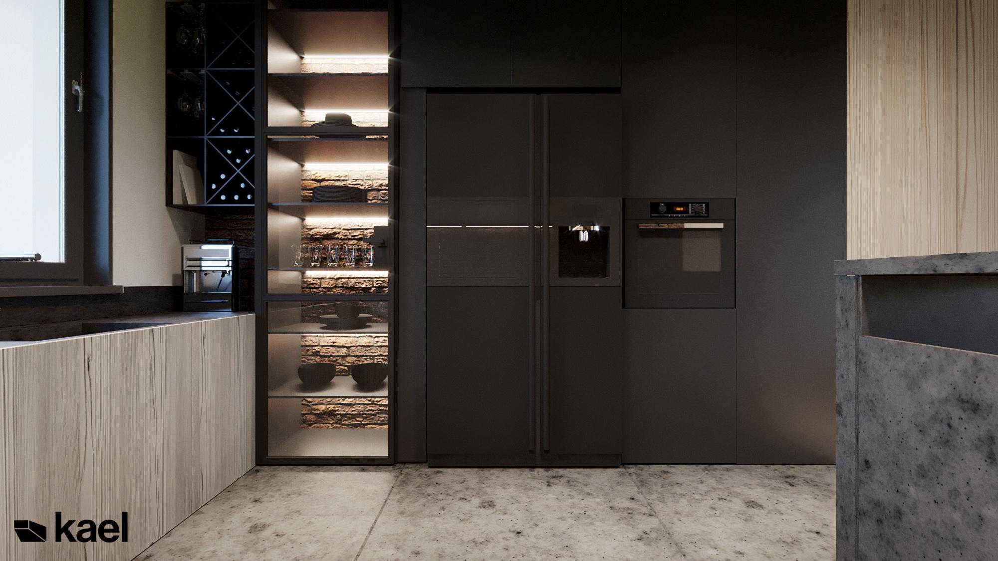 Kuchnia - Czumy II - projekt wnętrza domu w zabudowie szeregowej - Kael