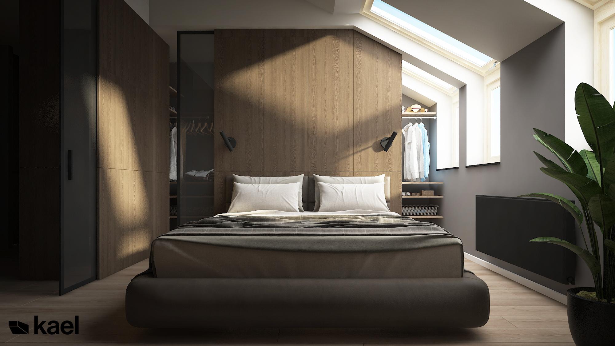 Sypialnia z drewnianą scianą