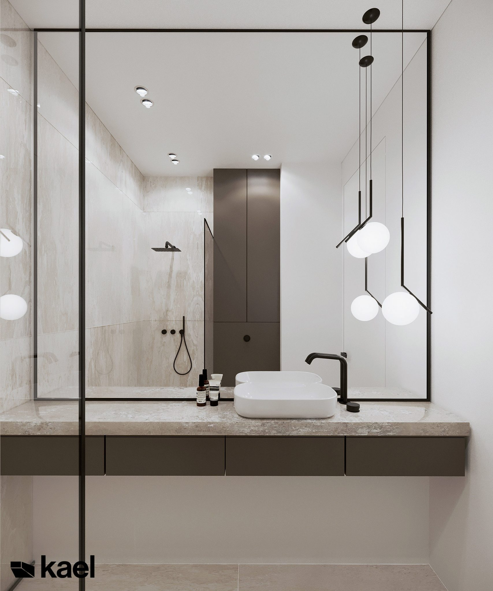 Lustro w łazience, umywalka - Kieślowskiego