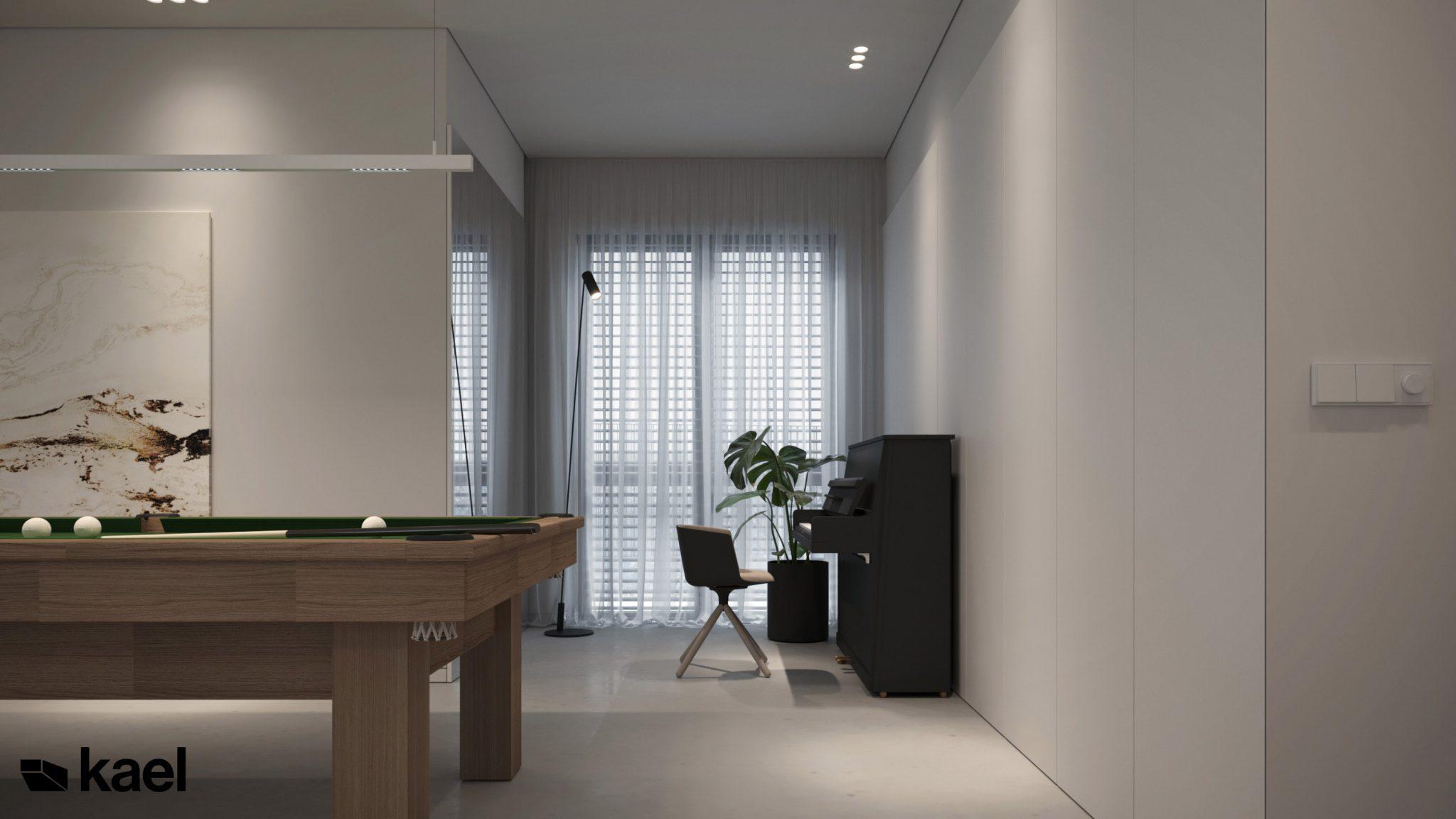 Salon ze stołem bilardowym i pianinem - projekt Wielicka