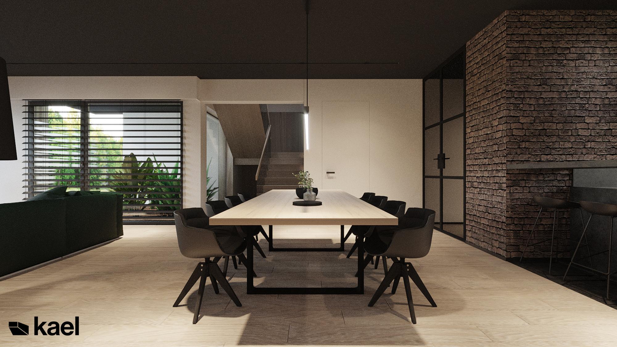 Jadalnia bokiem - Czumy II - projekt wnętrza domu w zabudowie szeregowej - Kael