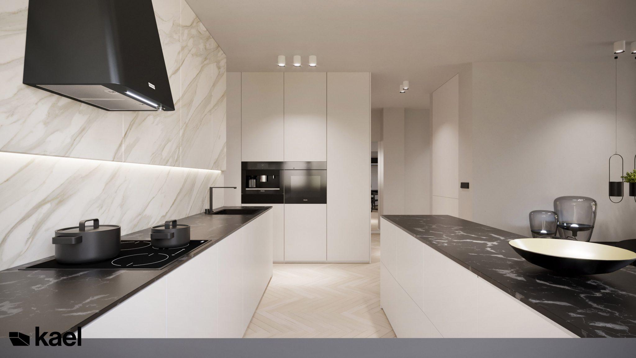 Kuchnia - Figiel - projekt mieszkania - Kael - architekt Warszawa