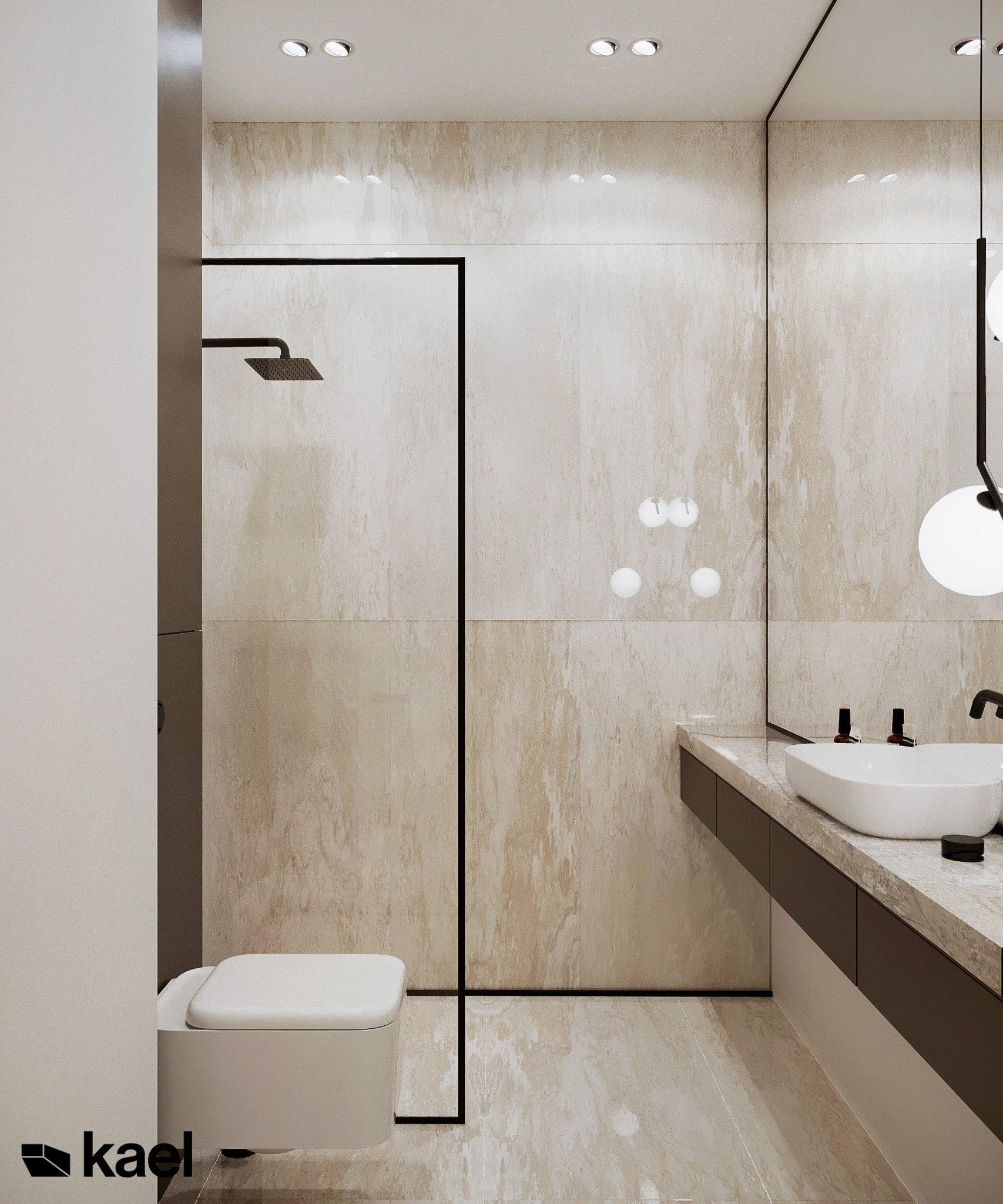 Nowoczesna łazienka - projekt Kieślowskiego