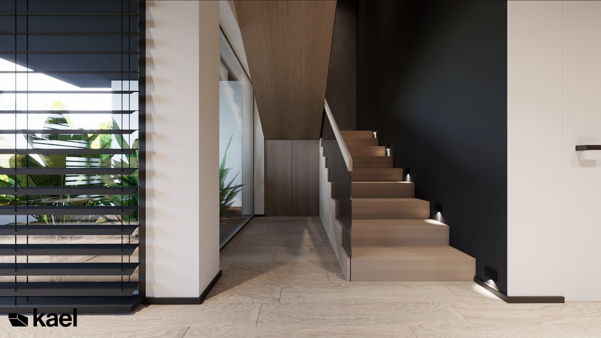 Schody - Czumy II - projekt wnętrza domu w zabudowie szeregowej - Kael