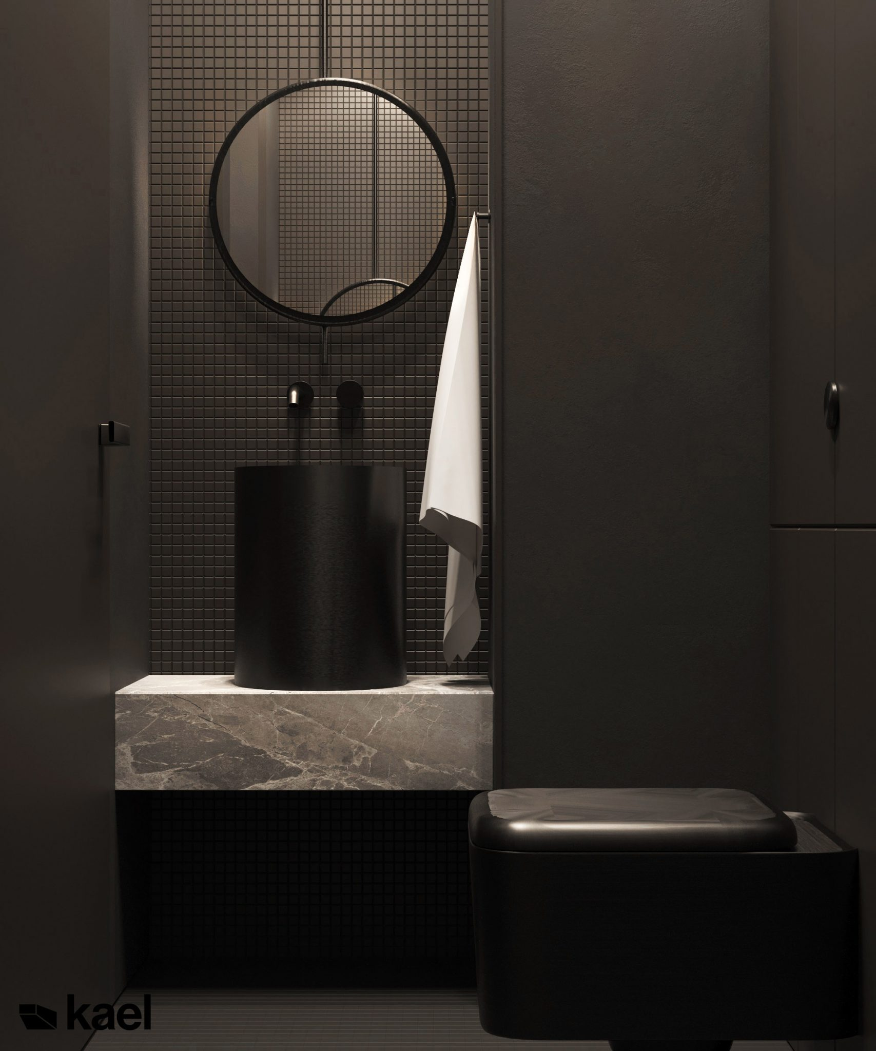 Łazienka z toaletą - projekt wnętrza Kael Palestera