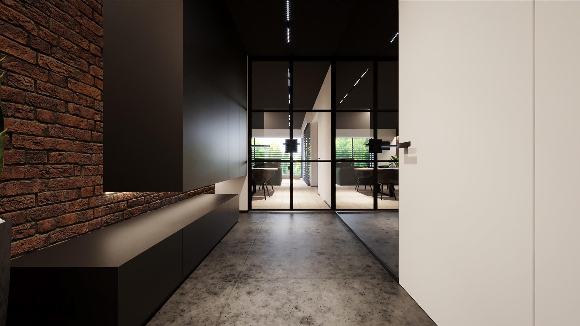 Hol - Czumy II - projekt wnętrza domu w zabudowie szeregowej - Kael