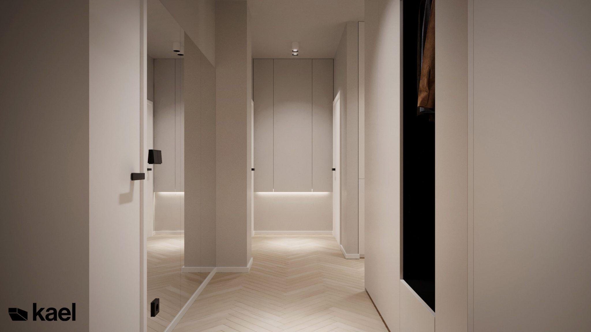 Hol - Figiel - projekt mieszkania - Kael - architekt Warszawa