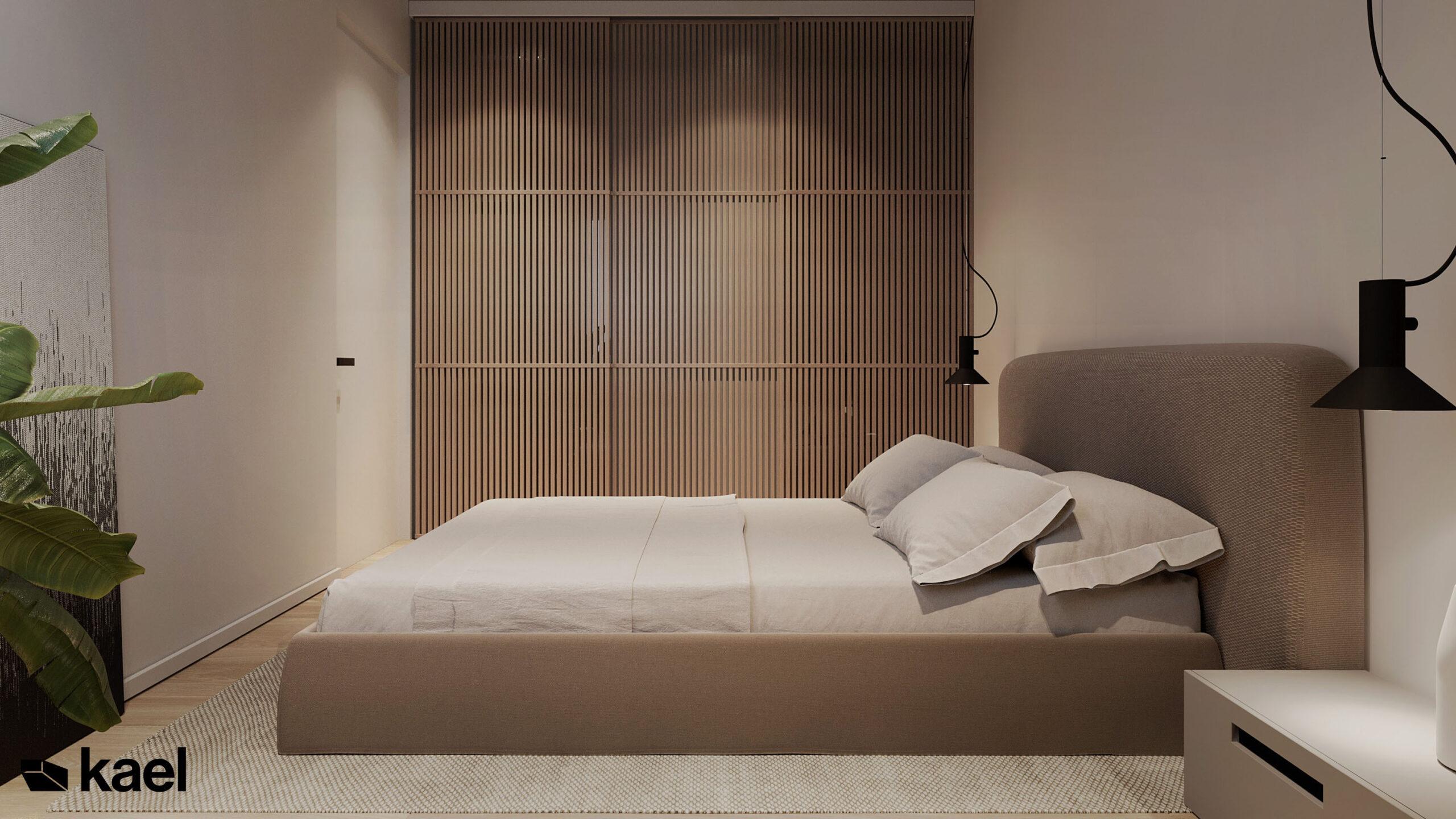 szafa za lamelkami w sypialni