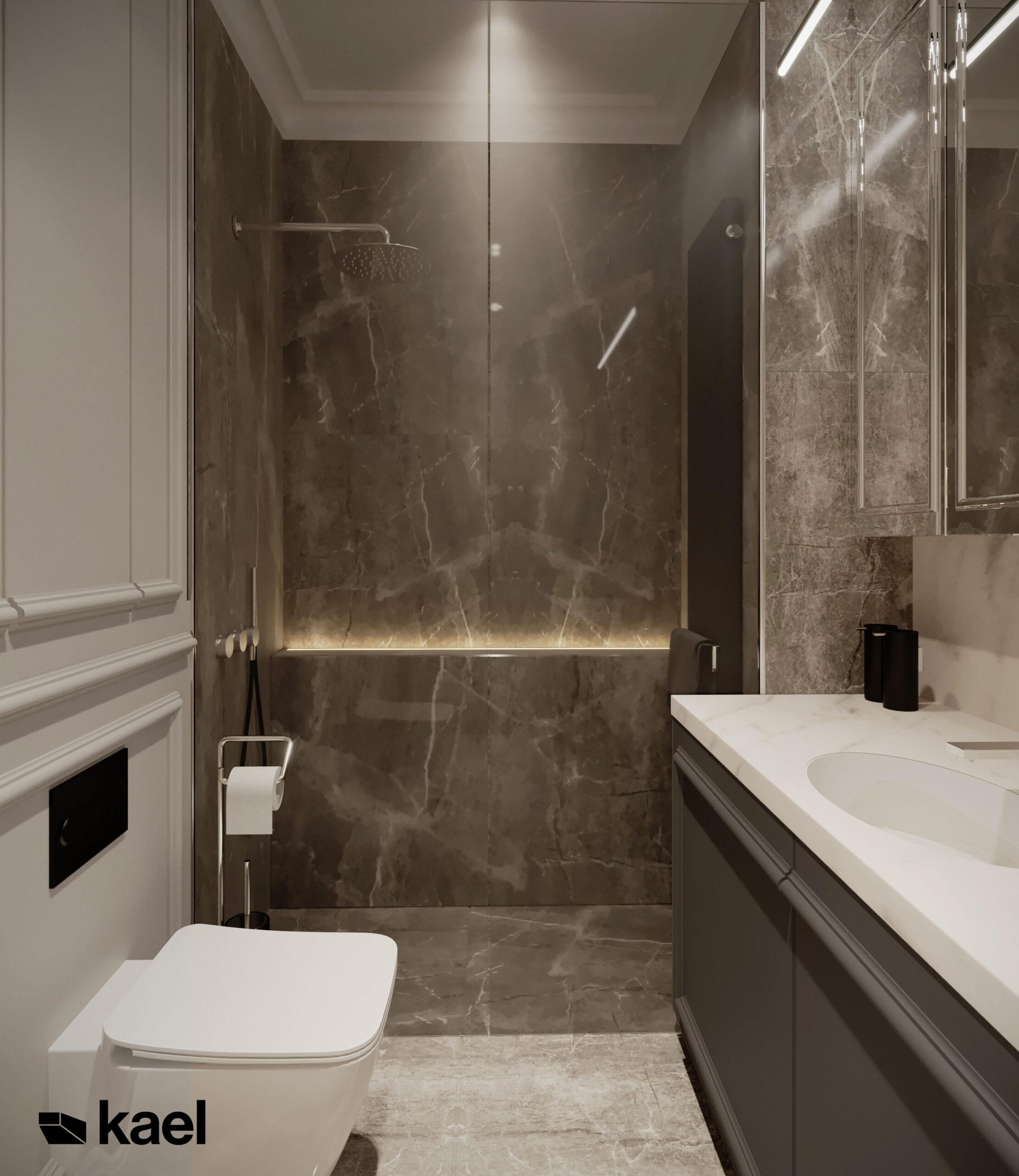szara płytka marmurowa w łazience
