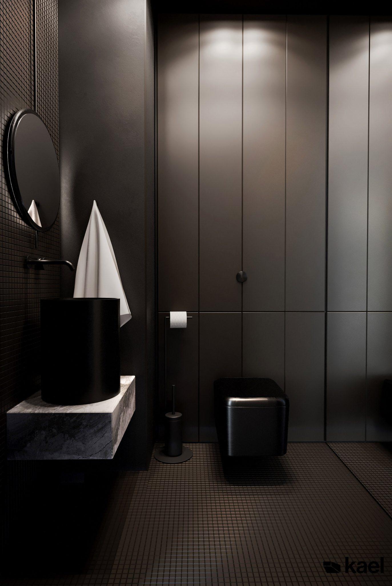 Łazienka z toaletą - Palestera - projekt wnętrza Kael