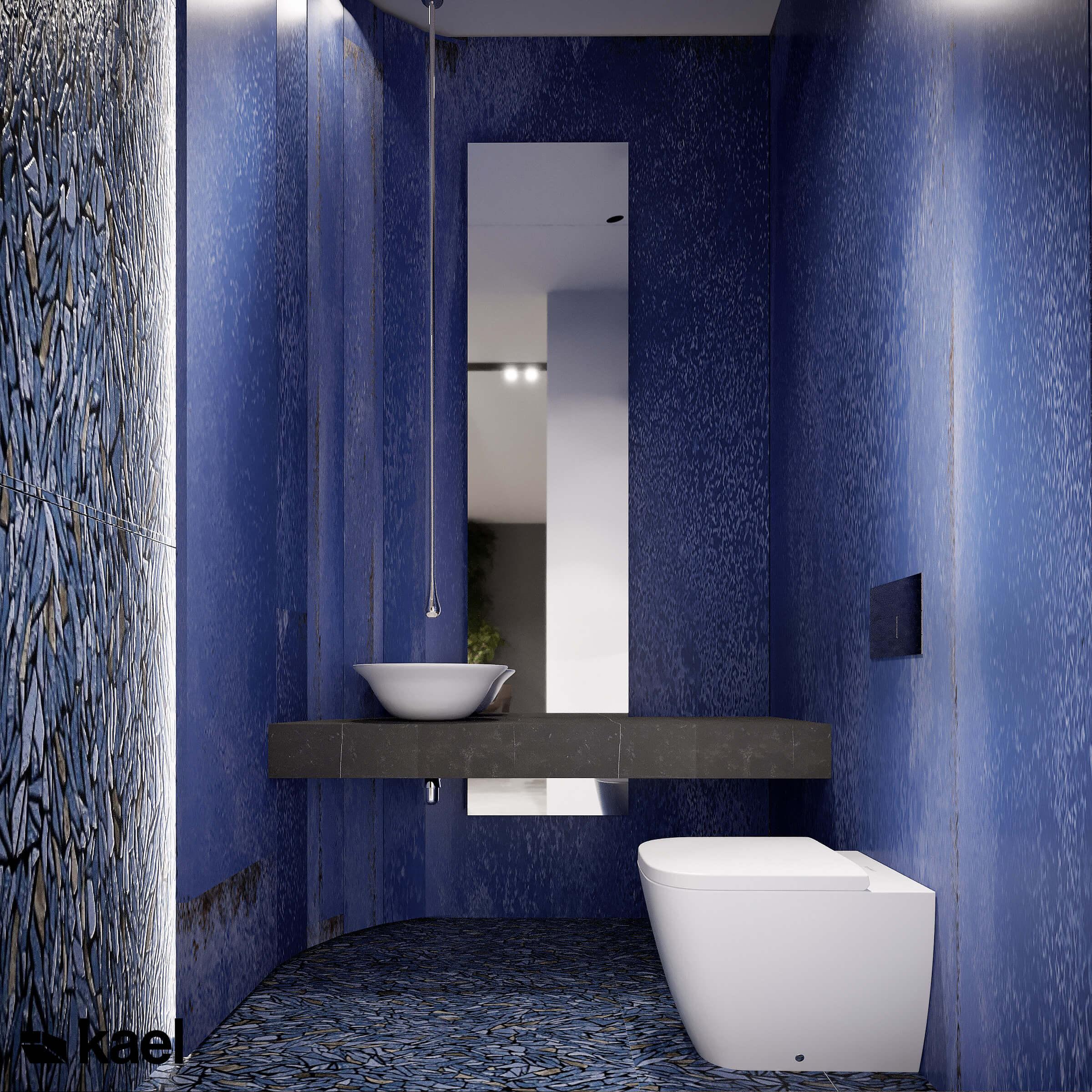 Łazienka w szafirowym kolorze.