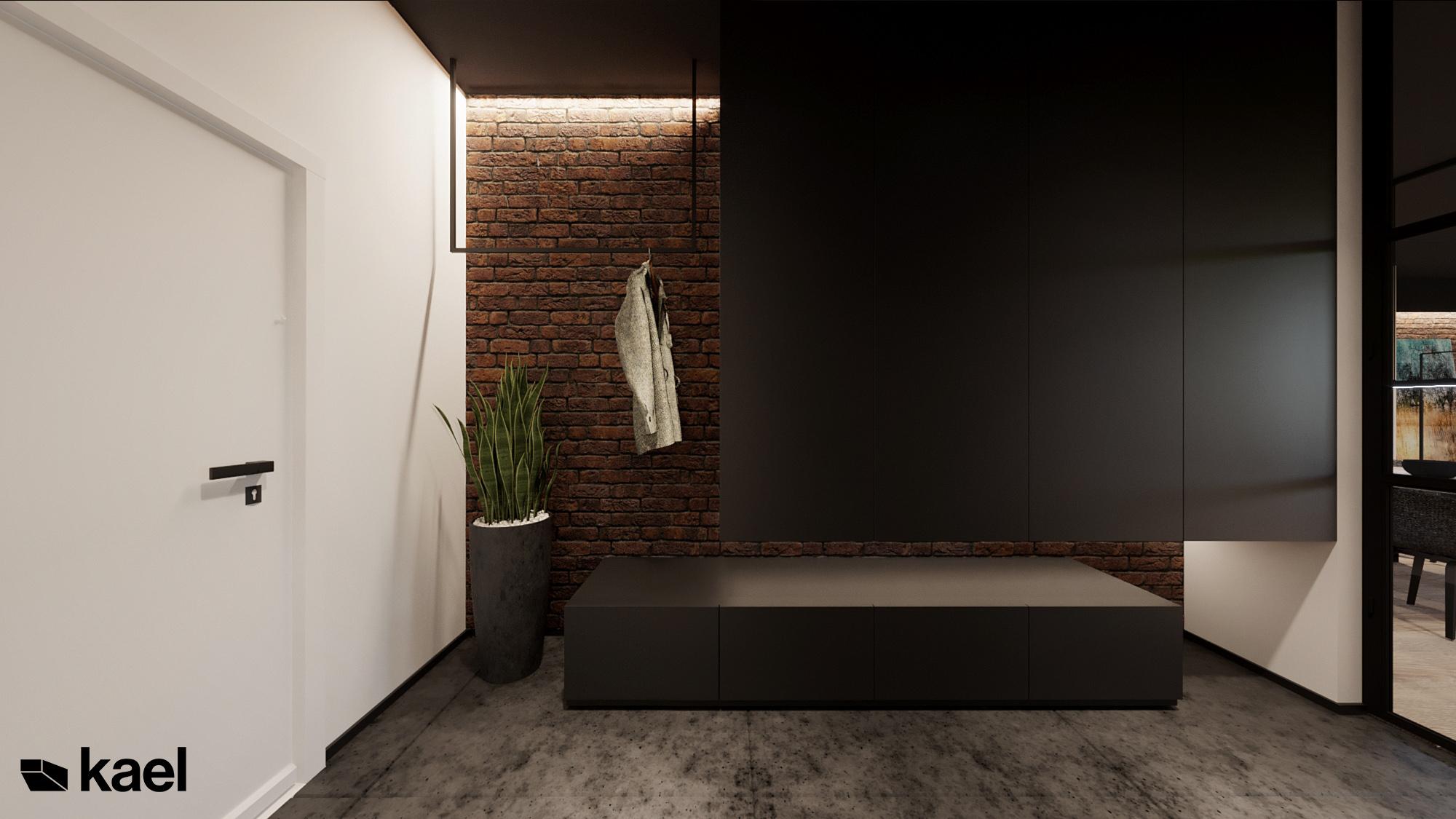 Hol - Czumy II - projekt wnętrza domu w zabudowie szeregowej