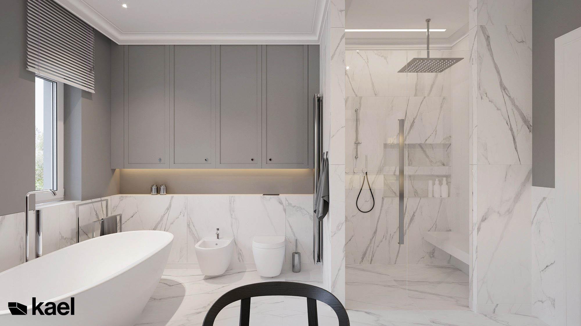 Łazienka z płytkami marmurowymi.