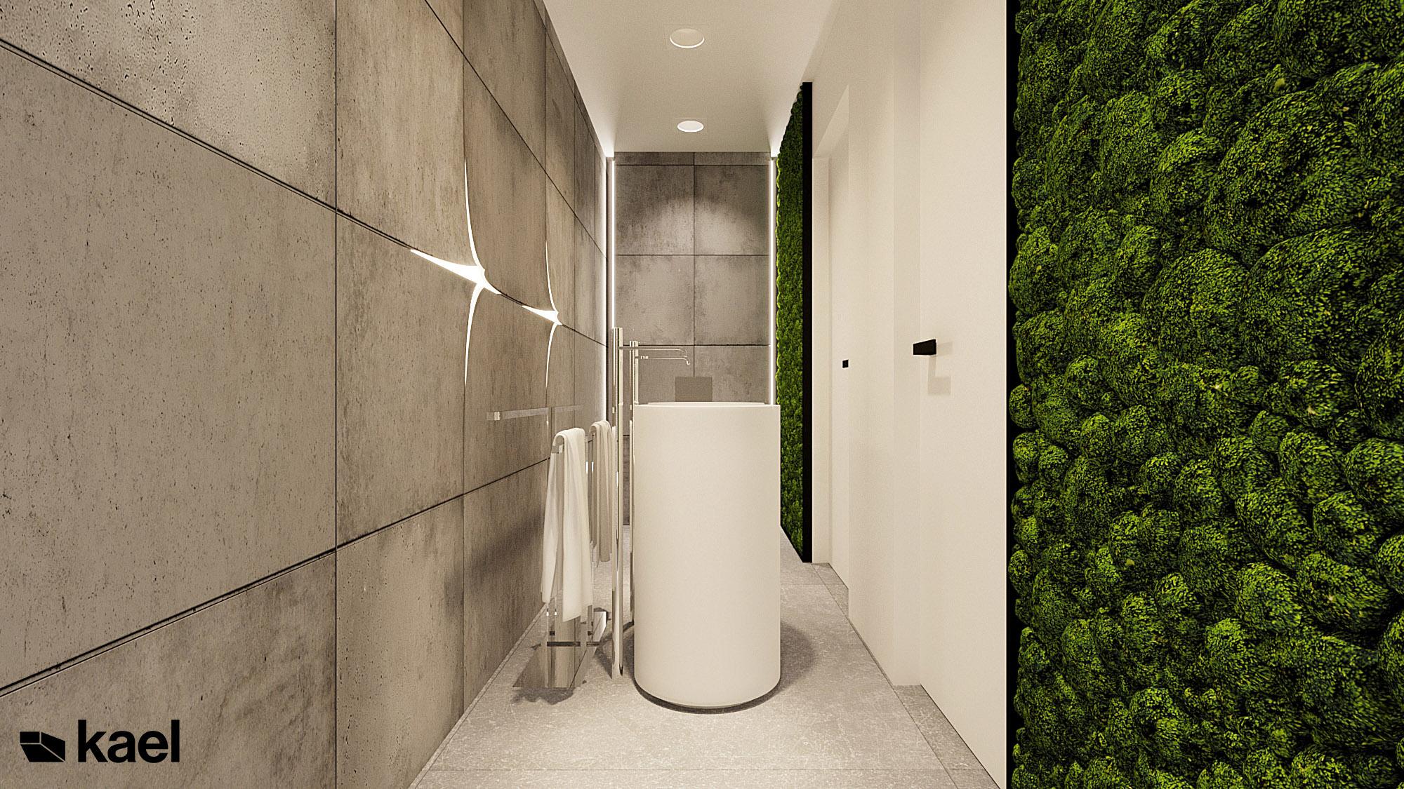 łazienka - Wachowska - projekt wnętrza domu jednorodzinnego - Kael Warszawa