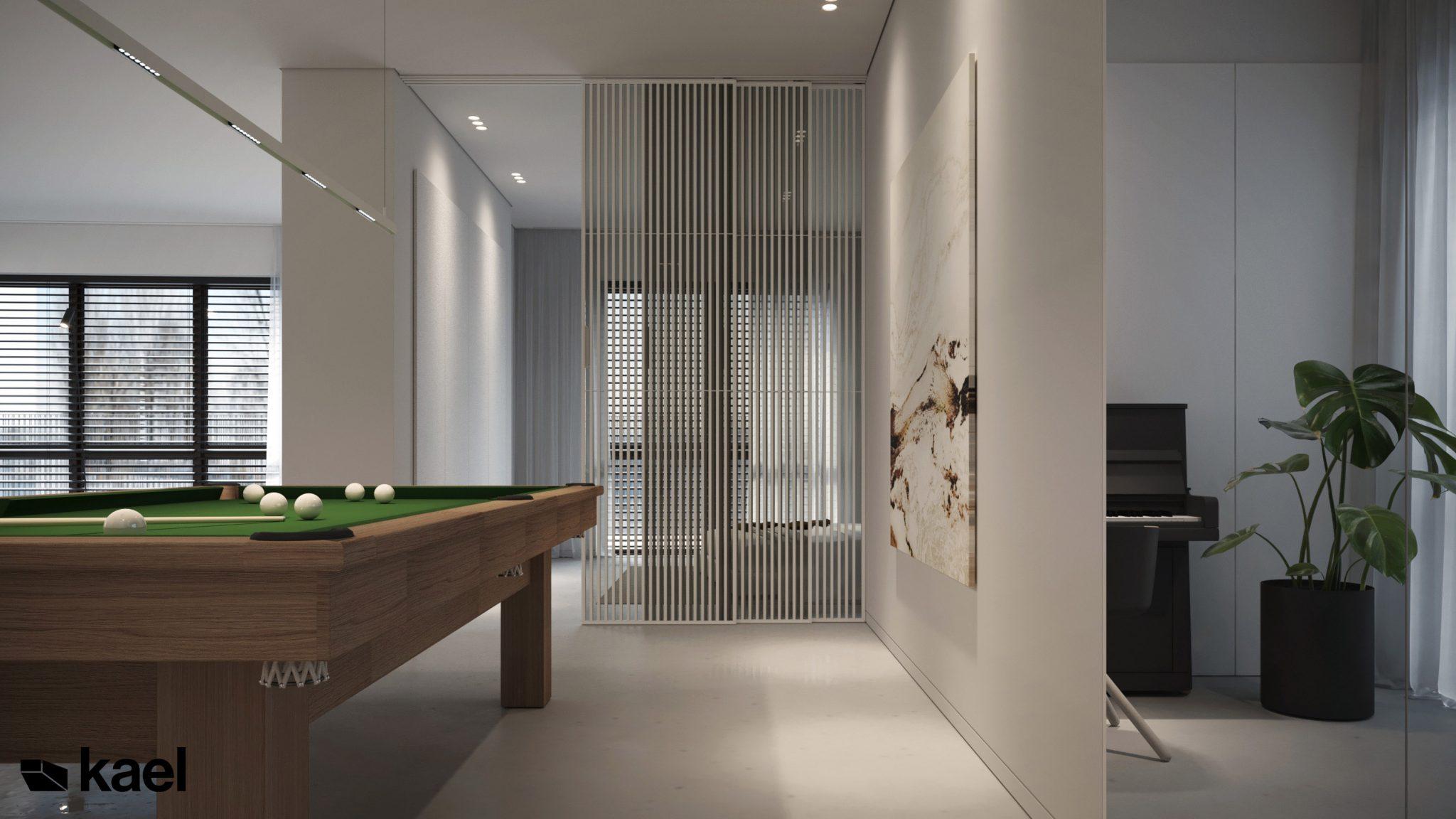 Stół bilardowy w salonie - projekt Wielicka