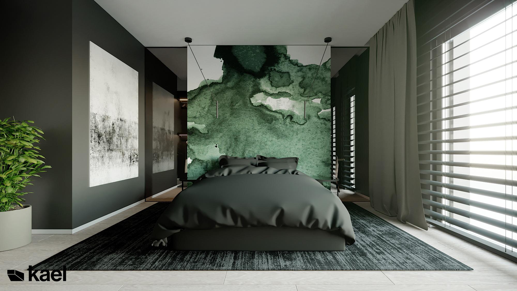 Sypialnia - Czumy II - projekt wnętrza domu w zabudowie szeregowej - Kael
