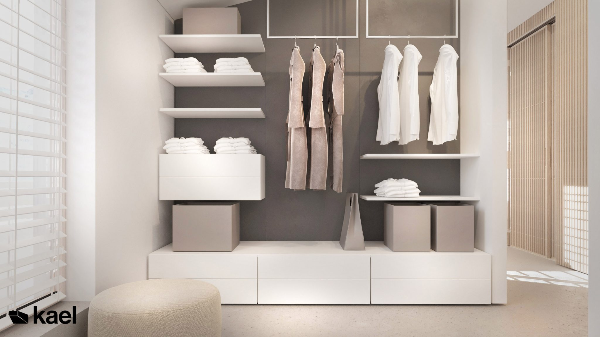 Garderoba - Palestera - projekt wnętrza Kael