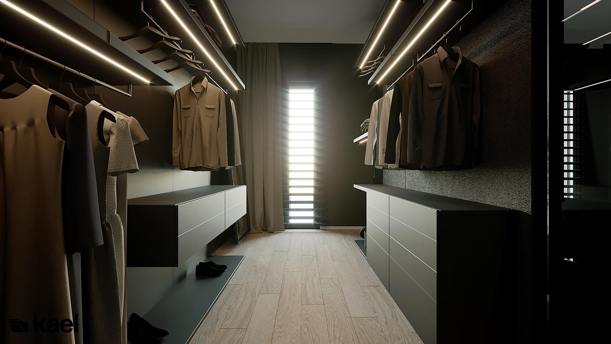Garderoba - Czumy II - projekt wnętrza domu w zabudowie szeregowej - Kael