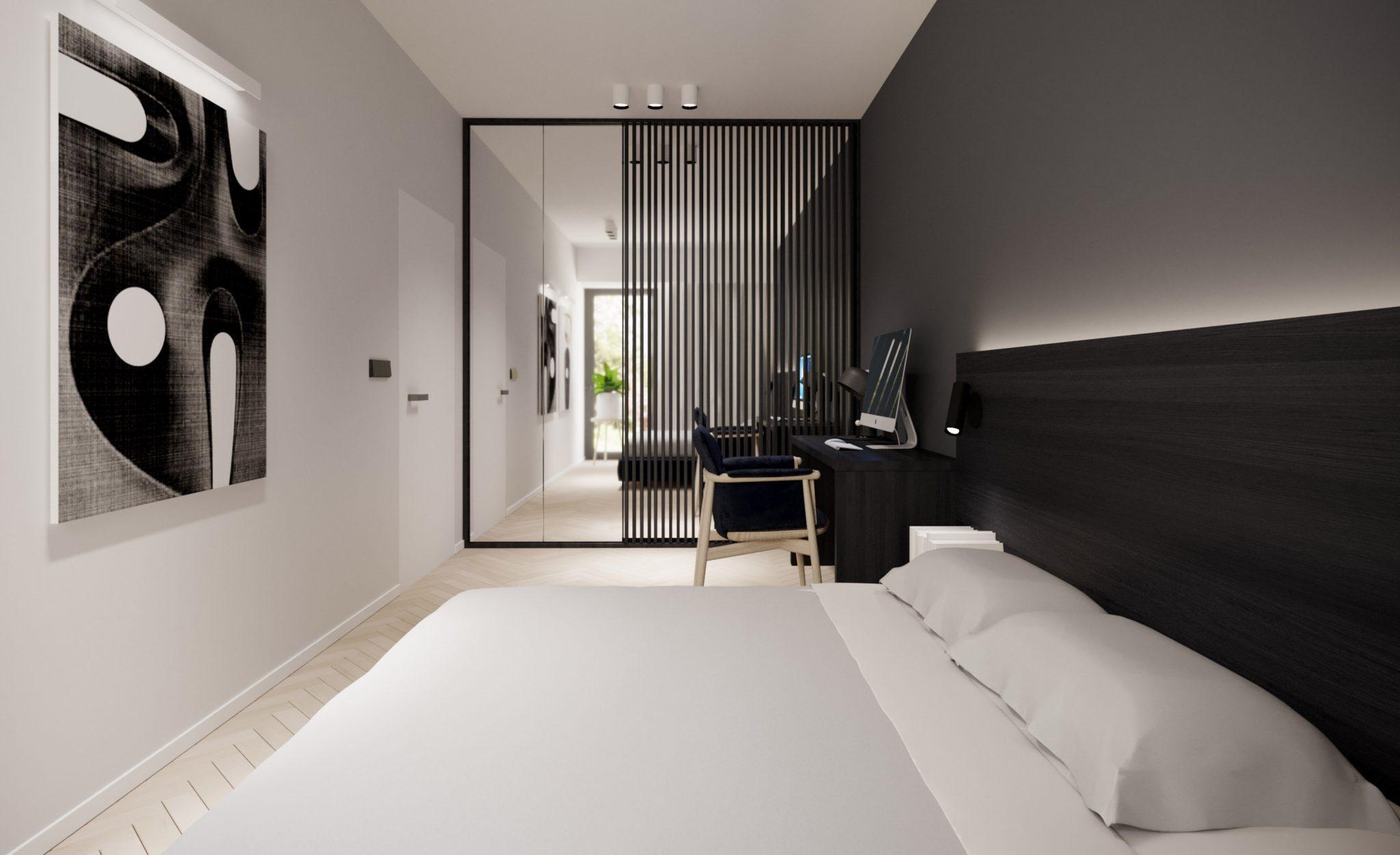 Sypialnia - Figiel - projekt mieszkania - Kael - architekt Warszawa