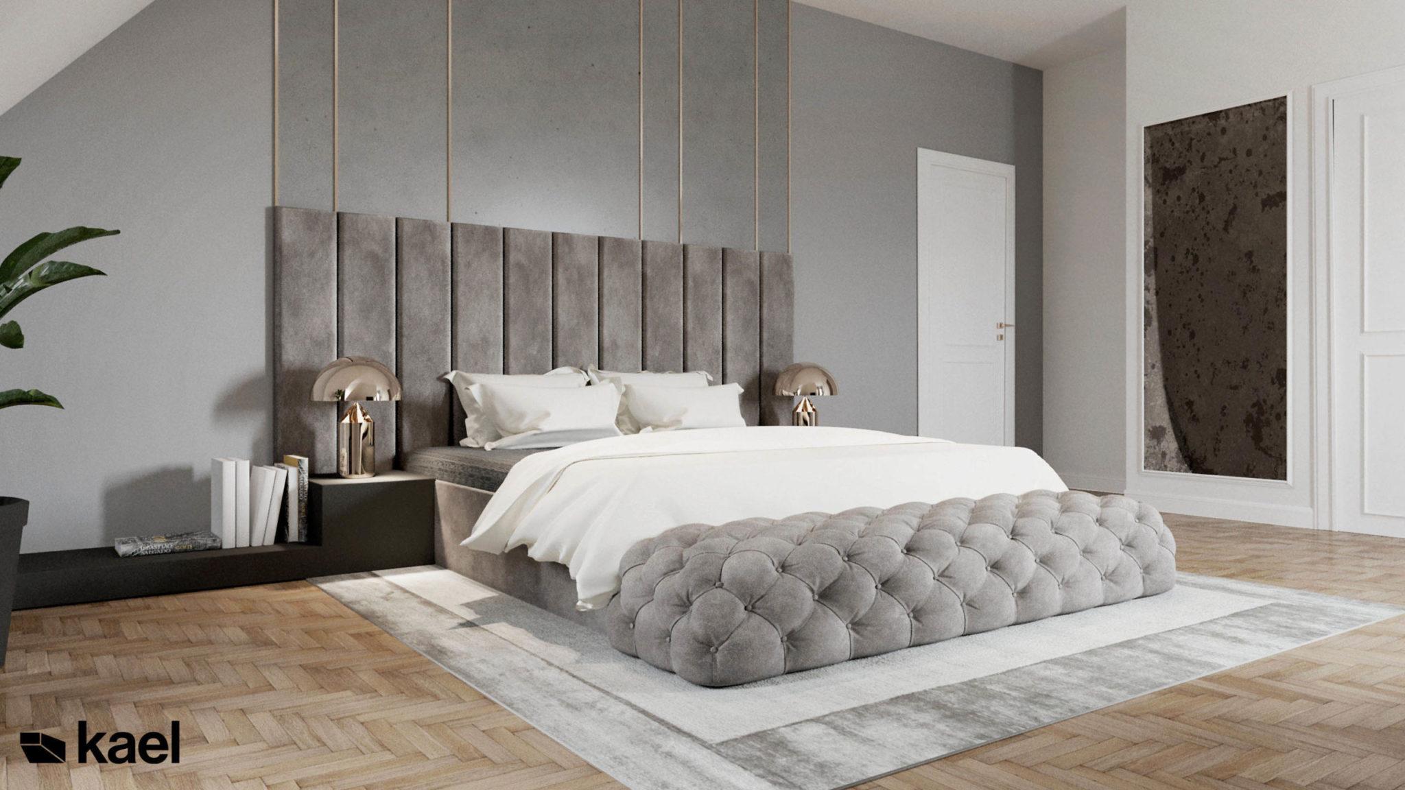 Sypialnia z łóżkiem kontynentalnym.