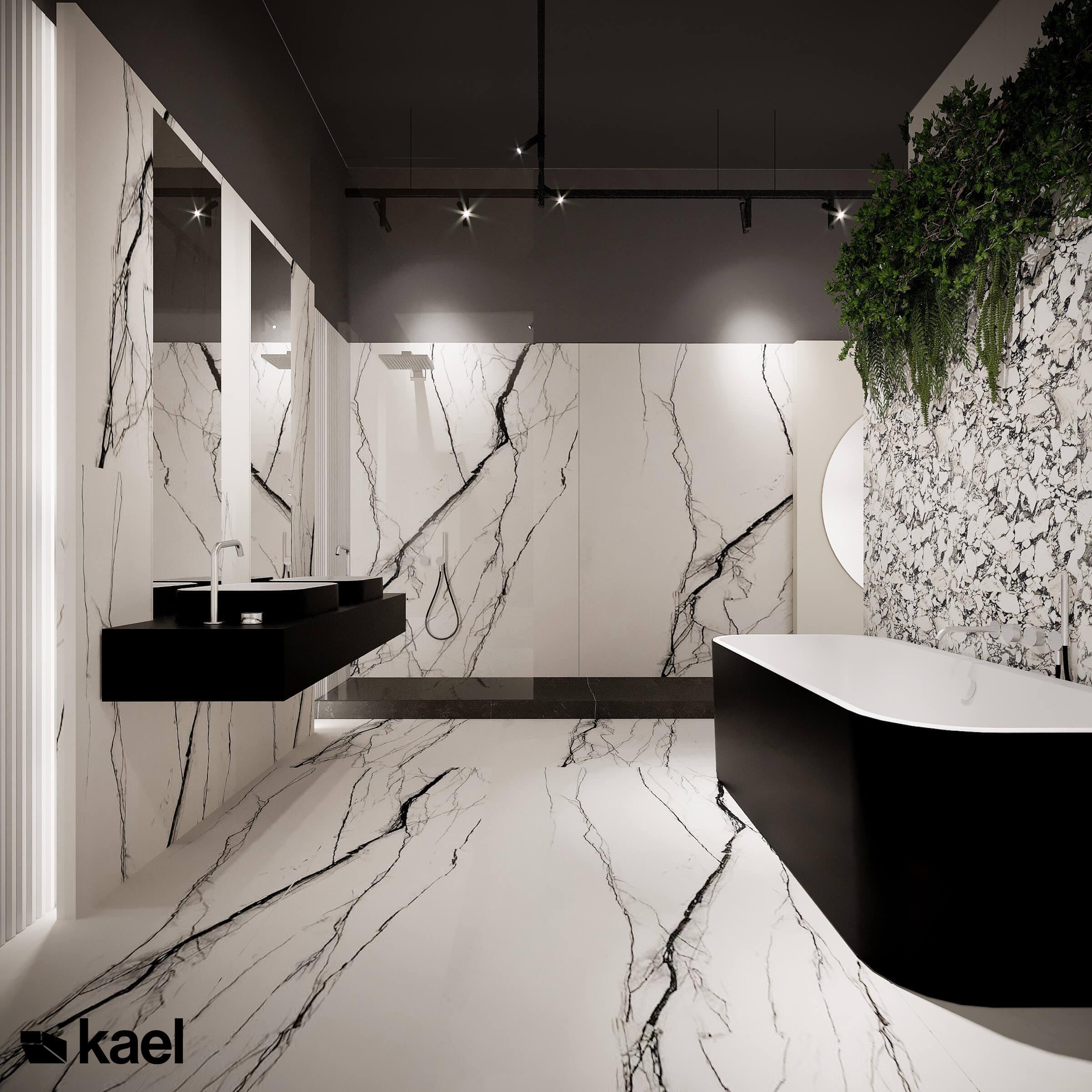Łazienka zachowana w odcieniach czerni i bieli.