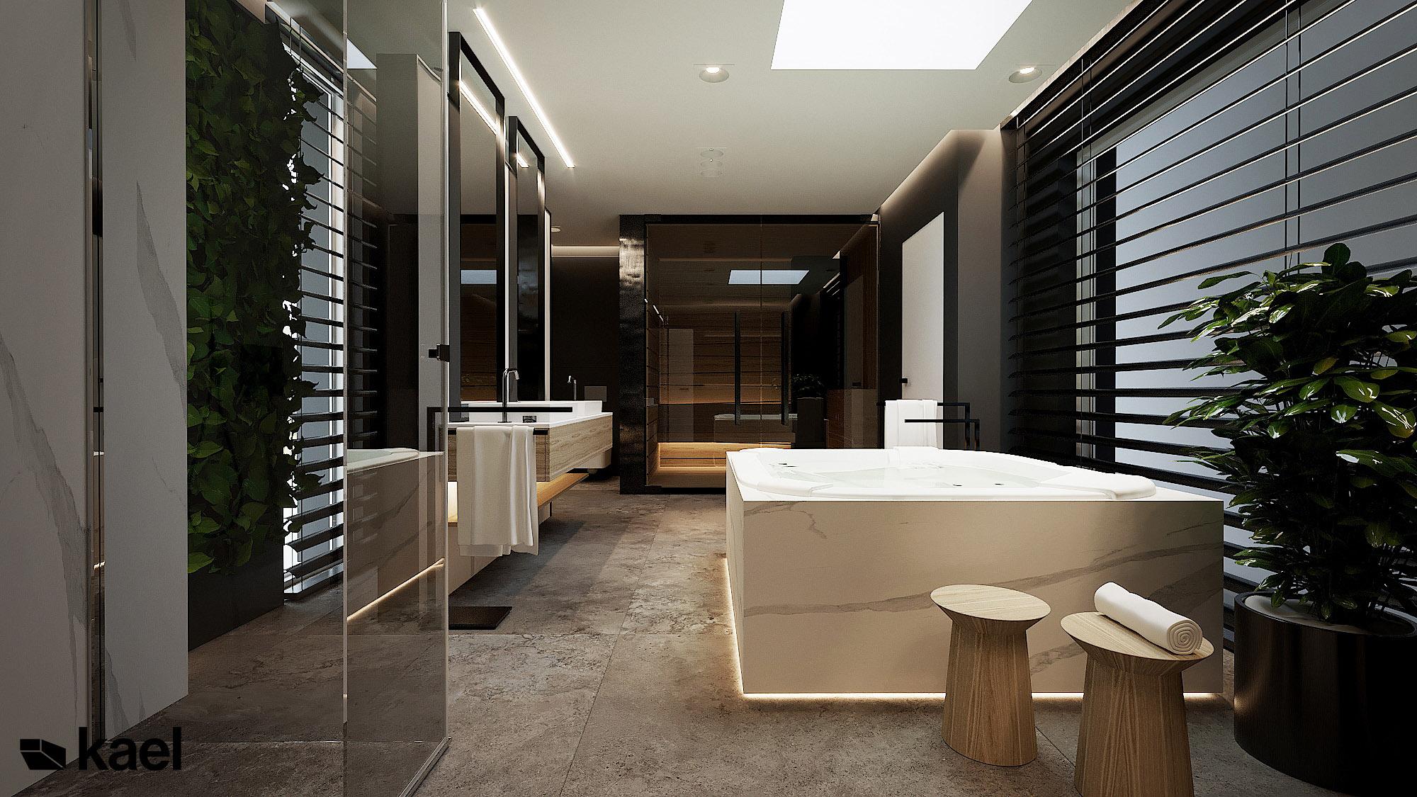 łazienka z wanną - Wachowska - projekt wnętrza domu jednorodzinnego - Kael Warszawa