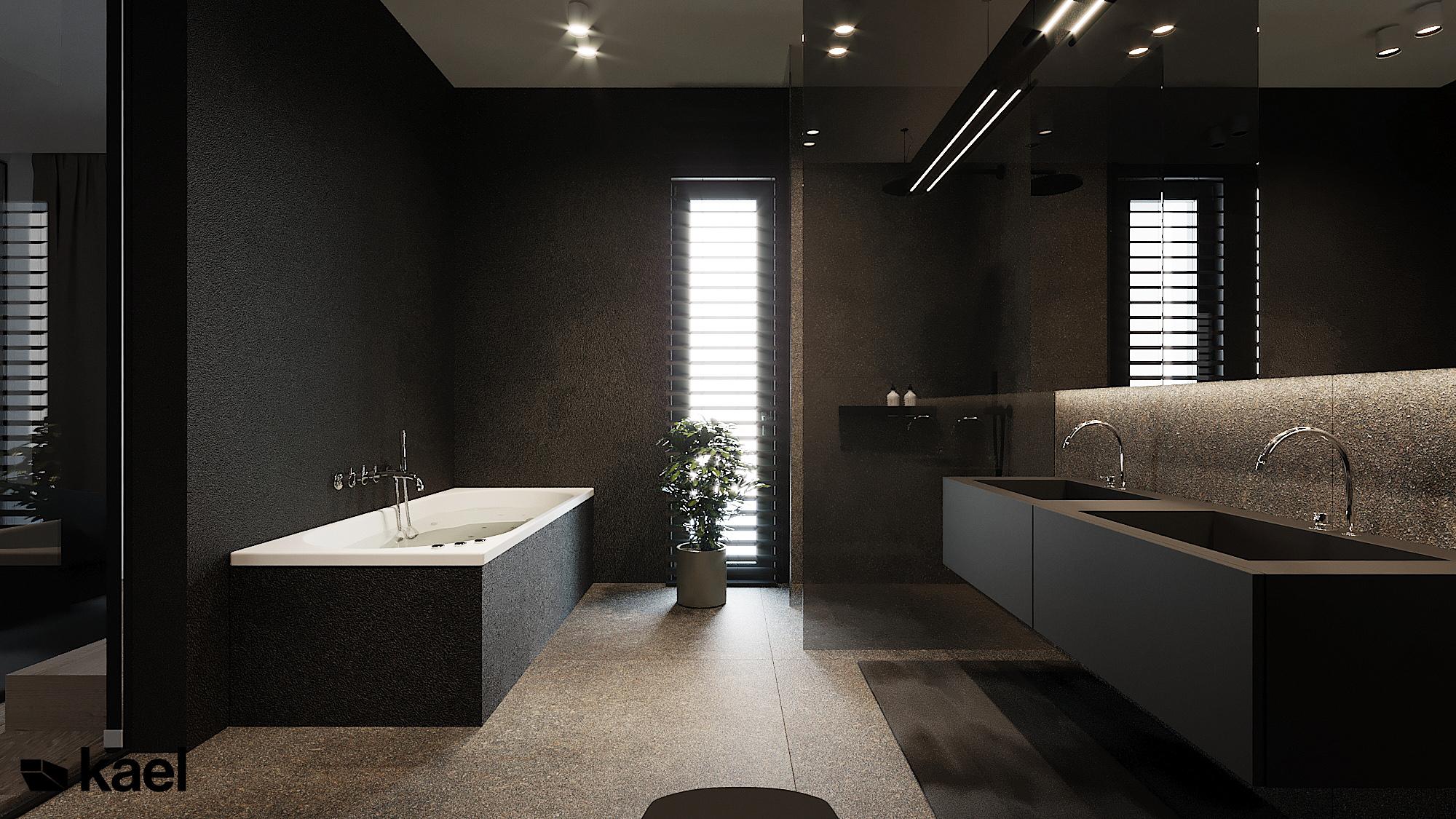Łazienka - Czumy II - projekt wnętrza domu w zabudowie szeregowej - Kael