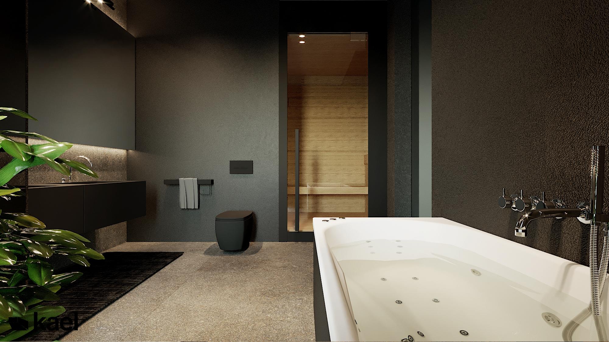 Wanna w łazience - Czumy II - projekt wnętrza domu w zabudowie szeregowej - Kael
