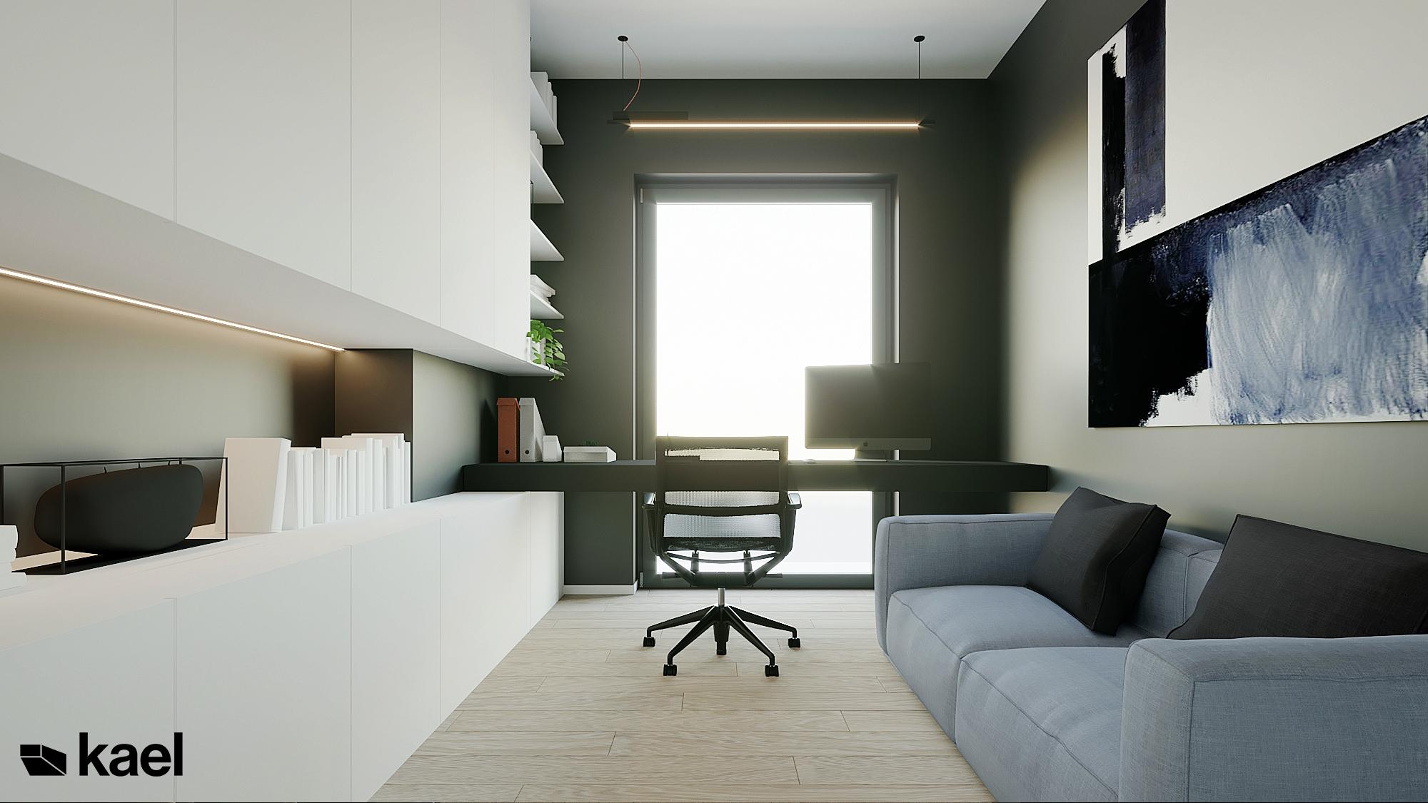 Gabinet - Czumy II - projekt wnętrza domu w zabudowie szeregowej - Kael