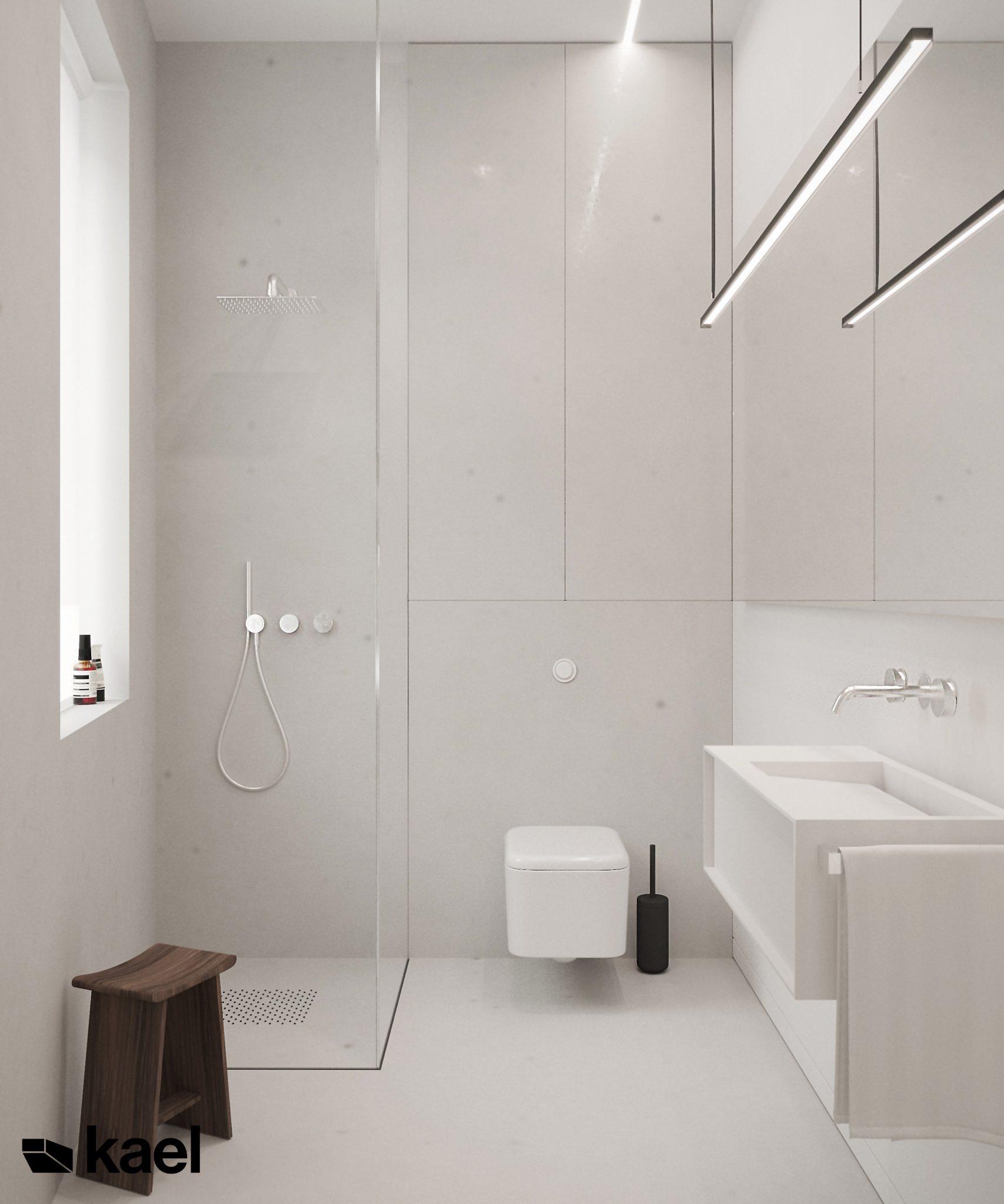 Łazienka w jasnych kolorach - projektowanie wnętrz Kael