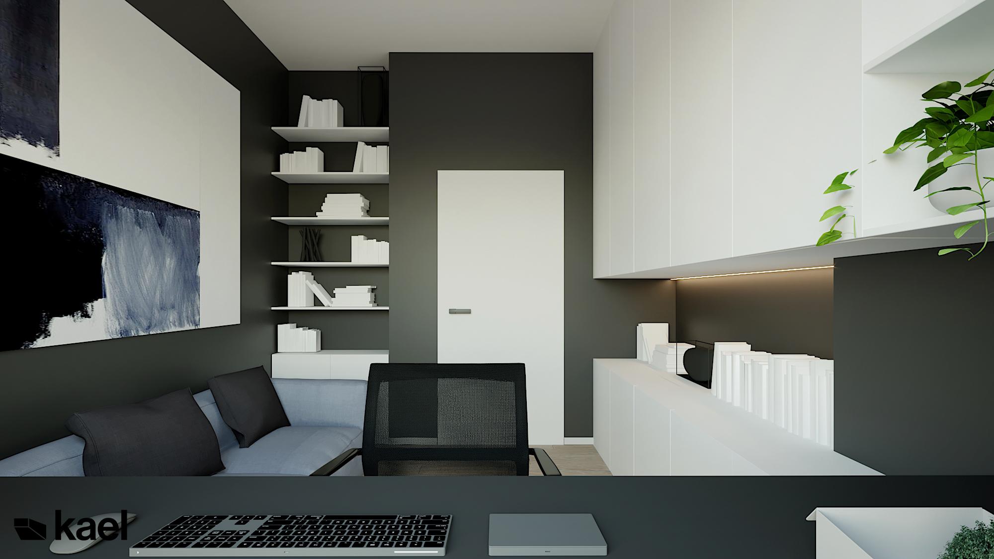 Gabinet - Czumy II - projekt wnętrza domu w zabudowie szeregowej