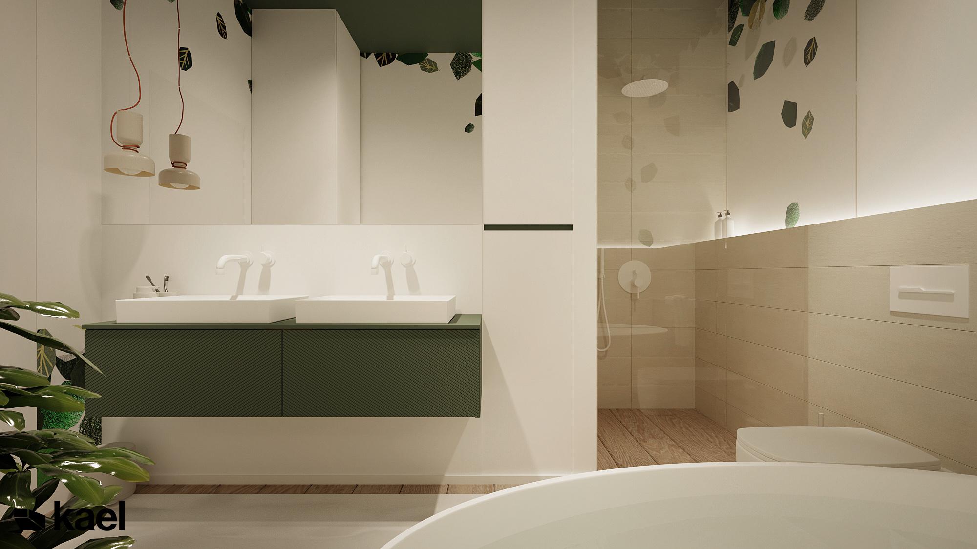 Druga łazienka - Czumy II - projekt wnętrza domu w zabudowie szeregowej - Kael