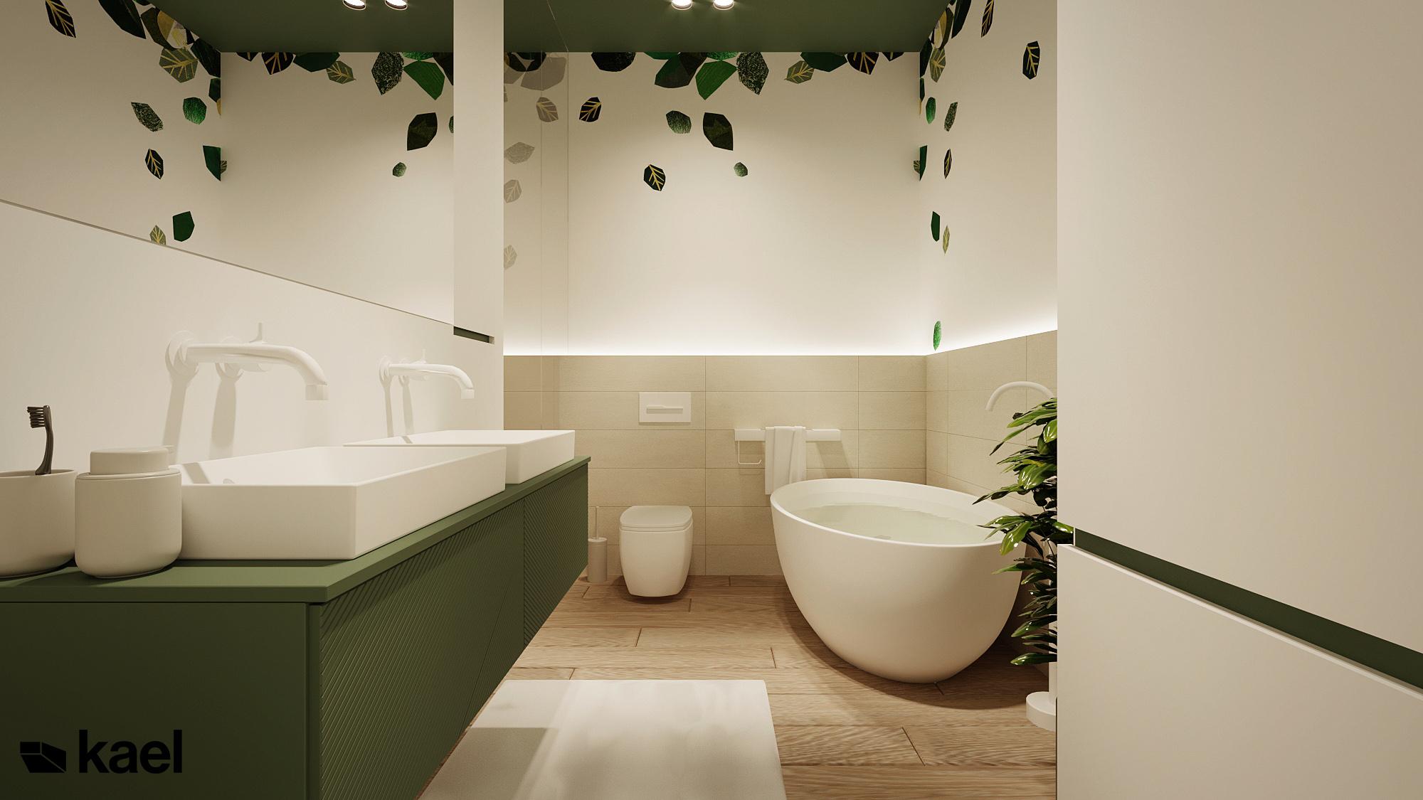 Łazienka z wanną - Czumy II - projekt wnętrza domu w zabudowie szeregowej - Kael