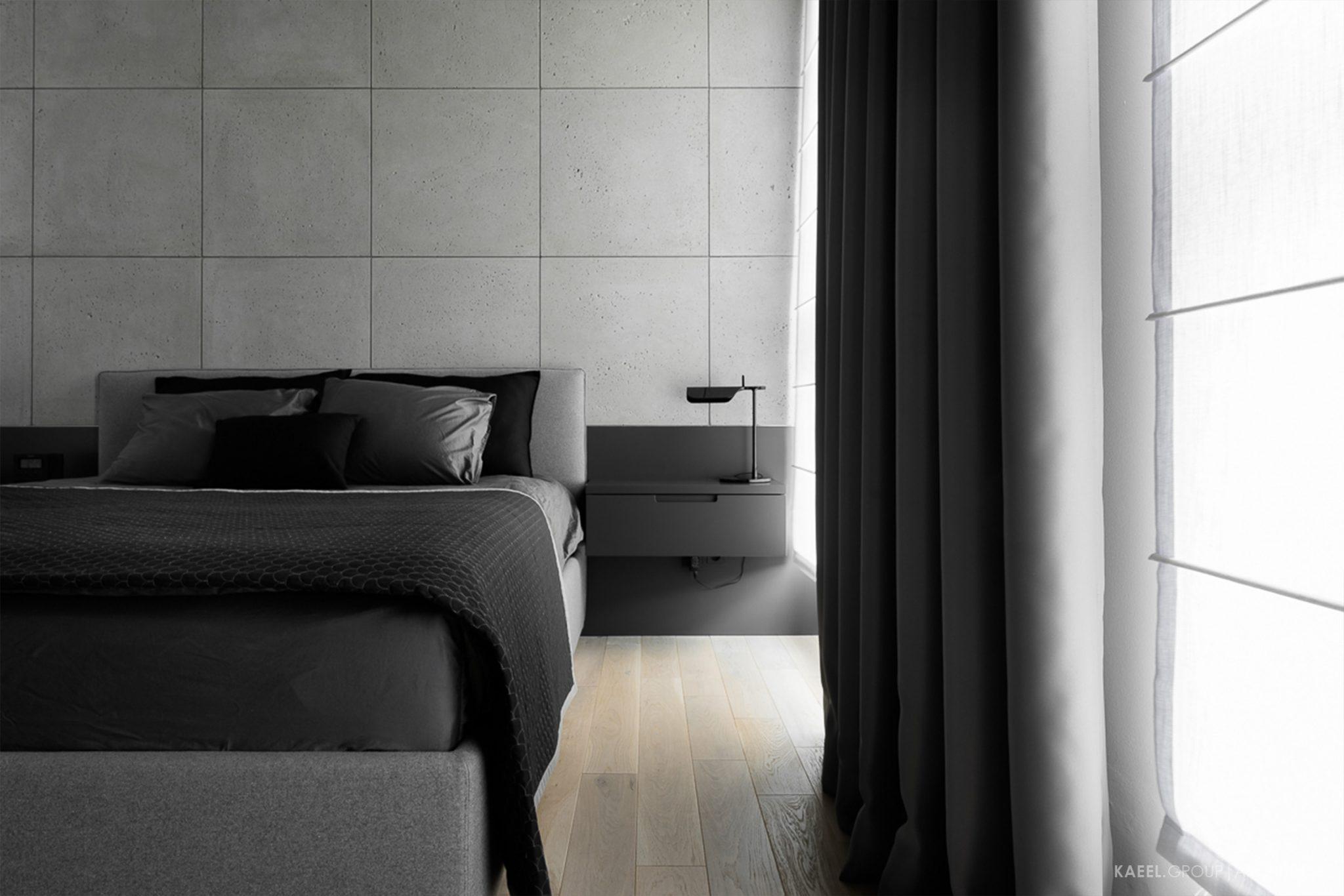 Sypialnia z betonem architektonicznym