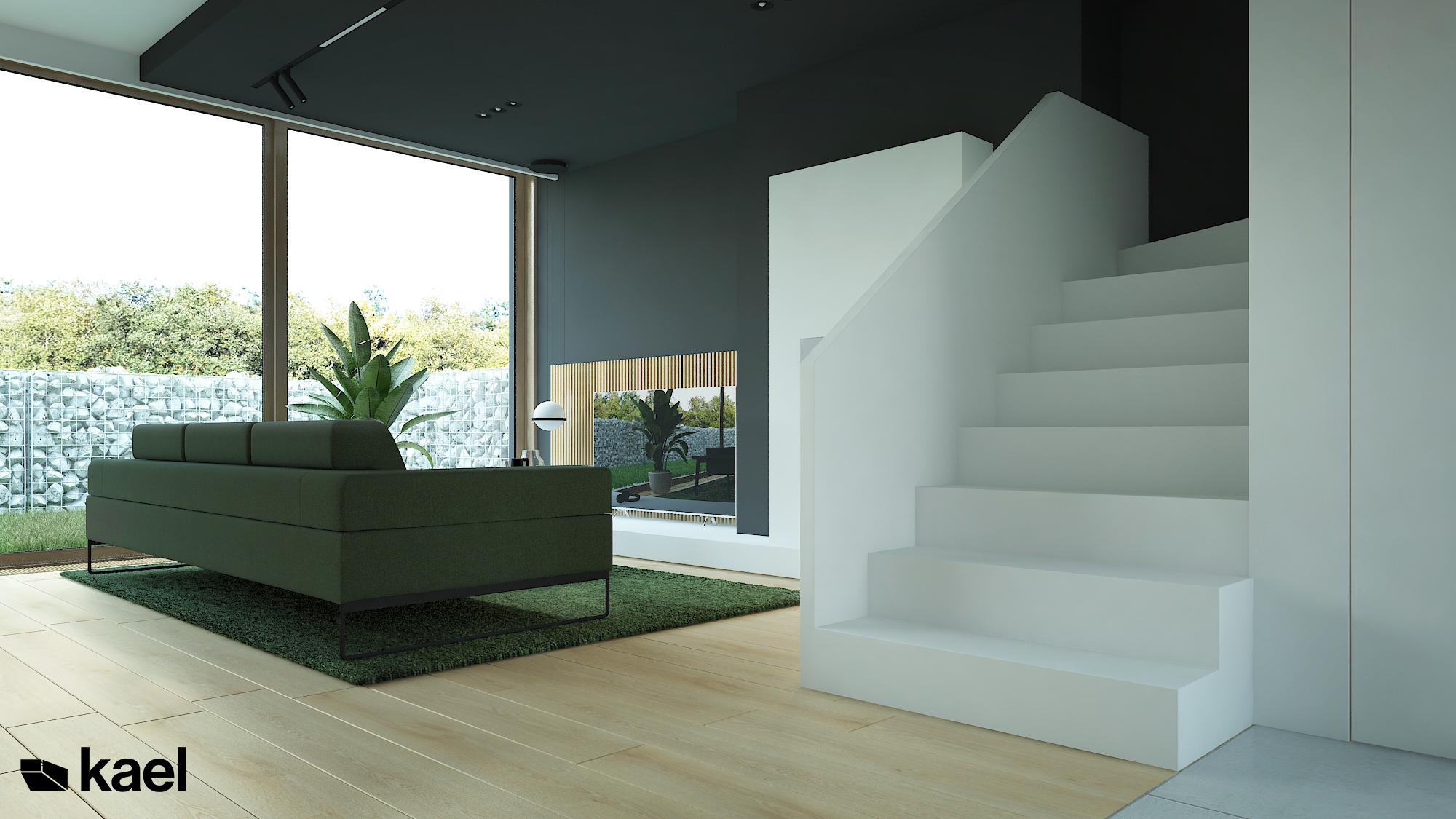 Monolityczne białe schody