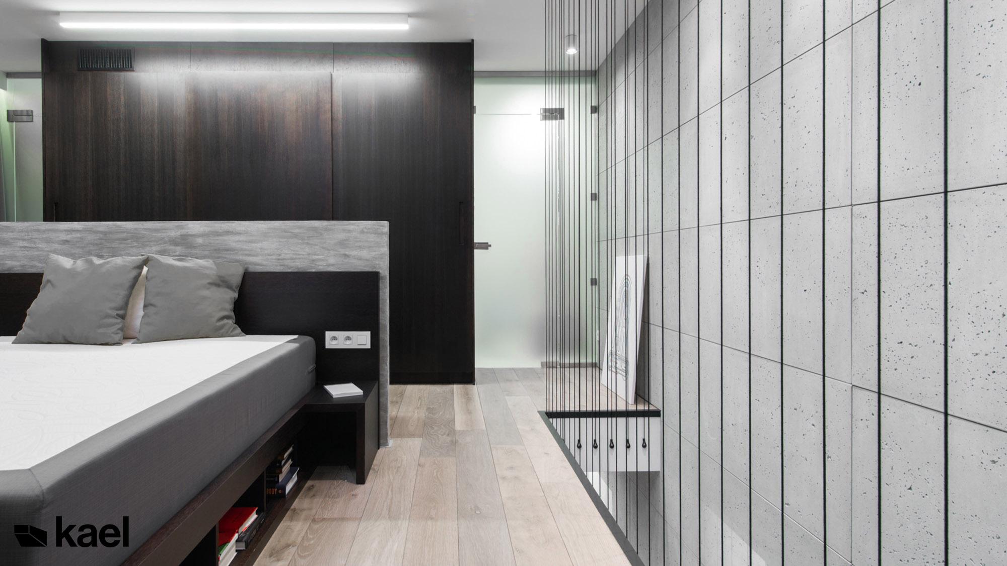 Sypialnia ze scianą betonową